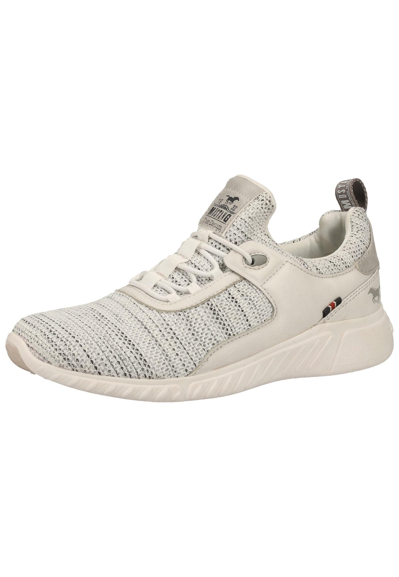 MUSTANG Športové šnurovacie topánky  biela / béžová