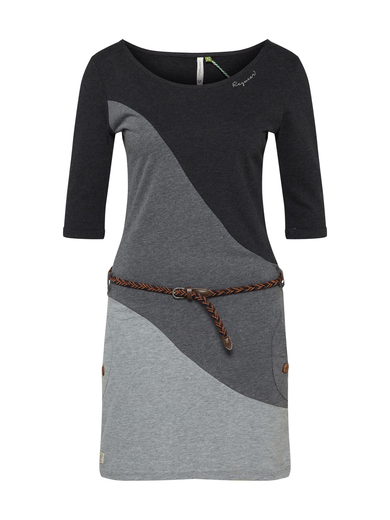 Šaty TANYA BLOCK ORGANIC šedá černá Ragwear