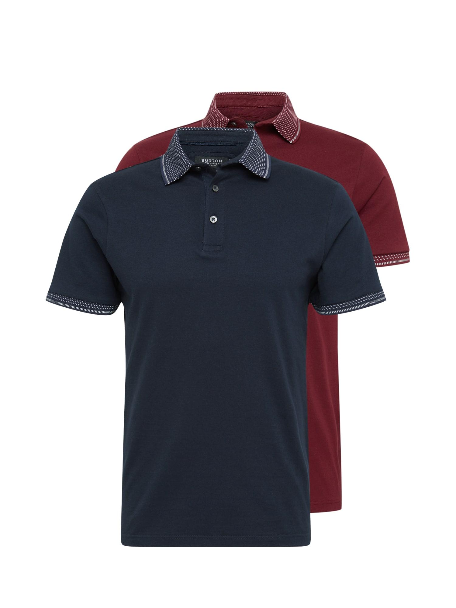 BURTON MENSWEAR LONDON Tričko  biela / burgundská / námornícka modrá