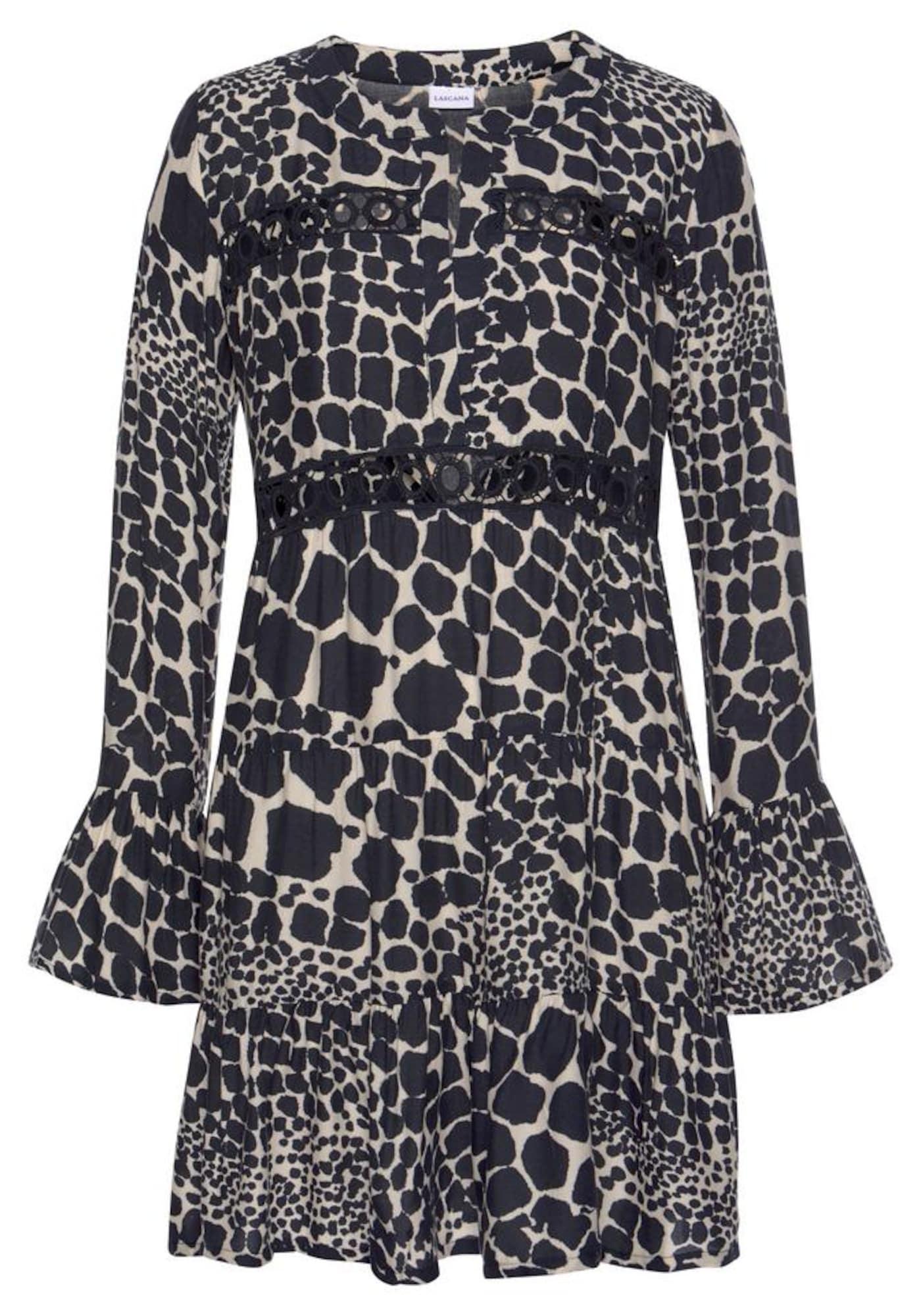LASCANA Košilové šaty  černá / bílá