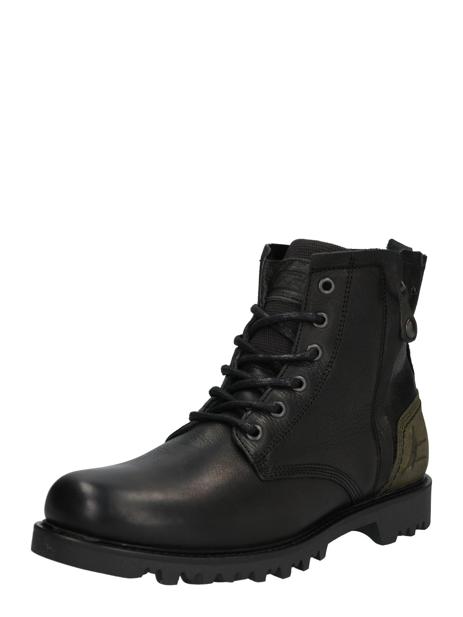 BULLBOXER Auliniai batai su raišteliais tamsiai žalia / juoda