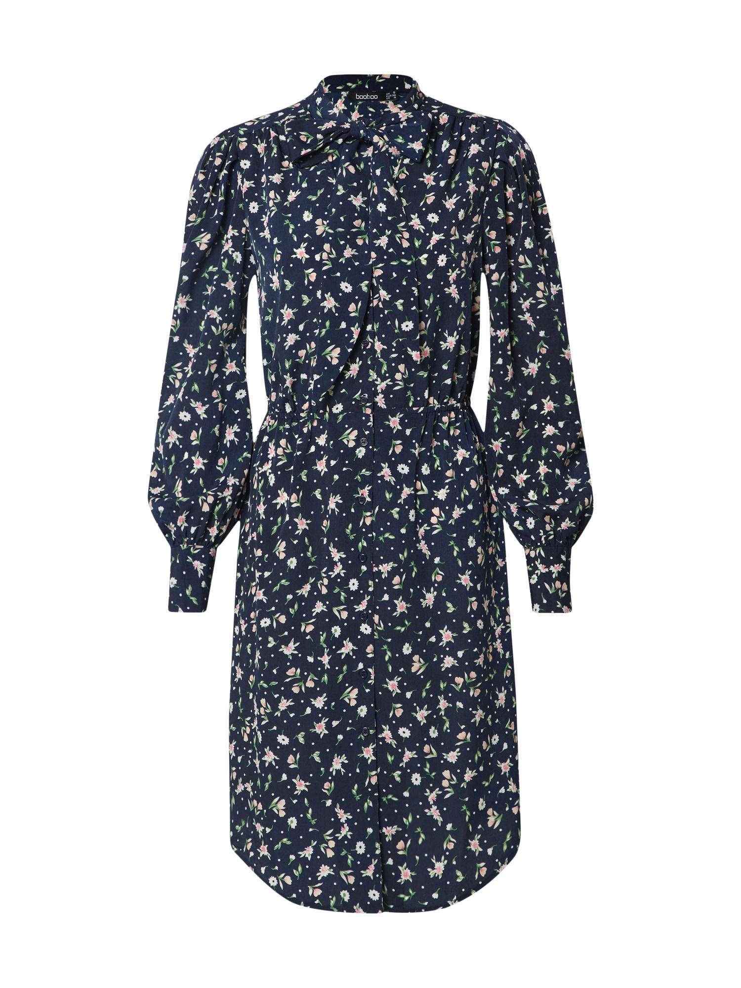 Boohoo Vasarinė suknelė 'Floral Button through Dress with Pussy Bow' tamsiai mėlyna