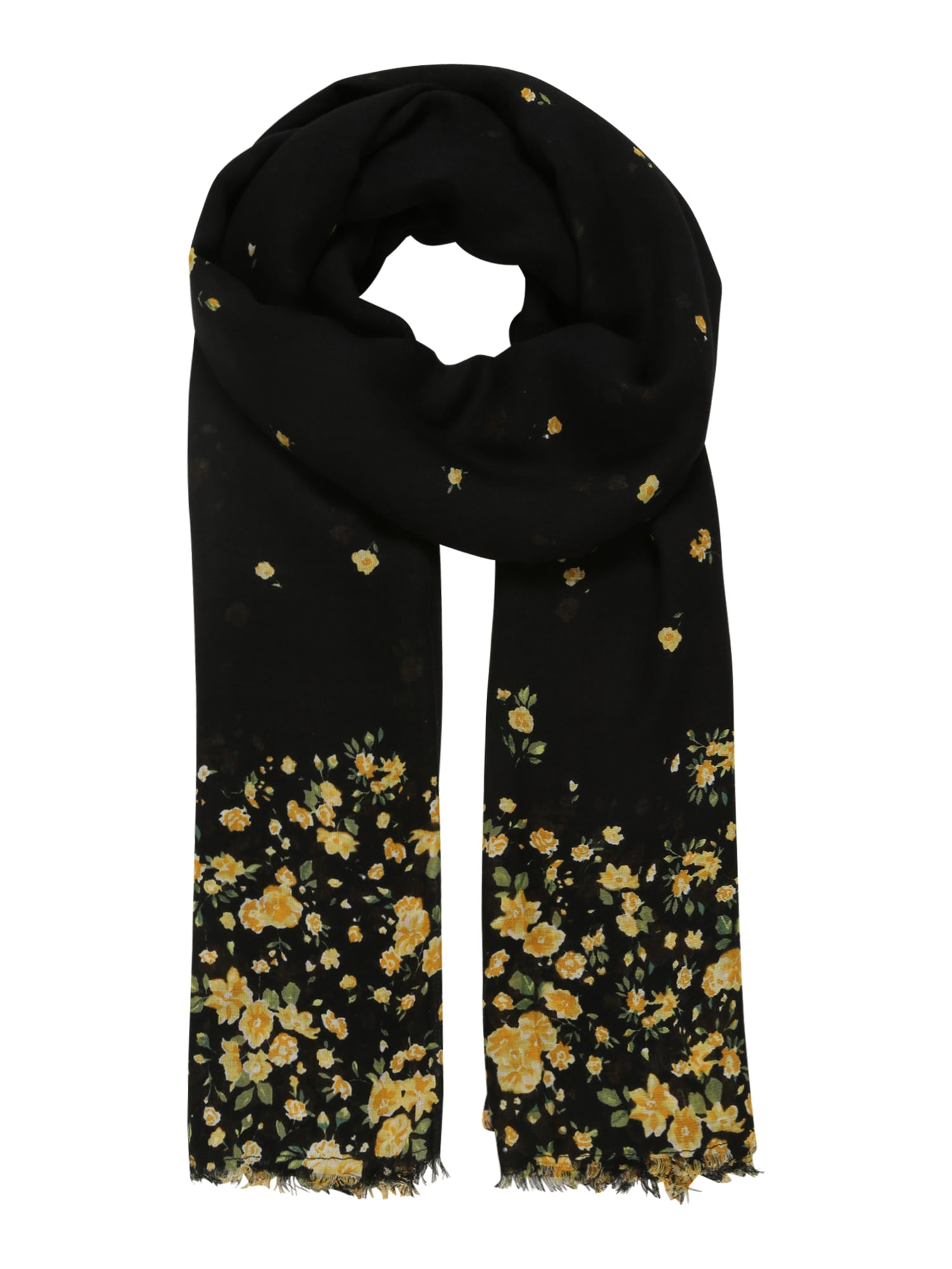 ONLY Šalikas 'DRIPPING FLOWER' juoda / geltona