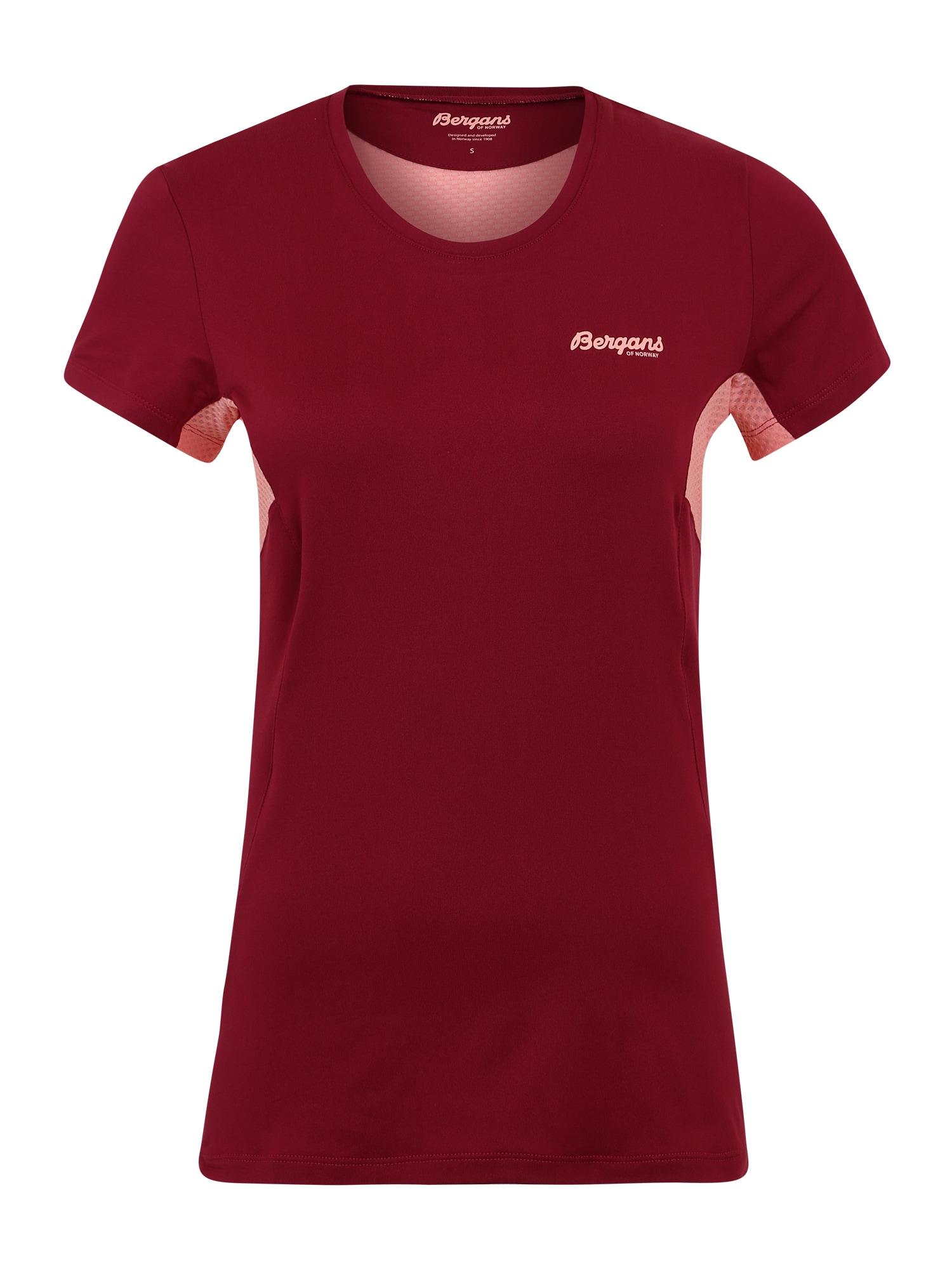 Bergans Sportiniai marškinėliai 'Fløyen' vyno raudona spalva