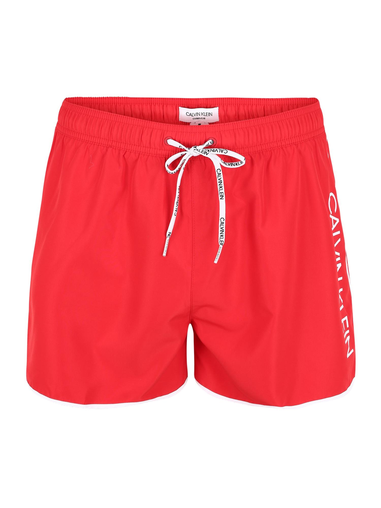 Calvin Klein Swimwear Maudymosi trumpikės raudona / balta
