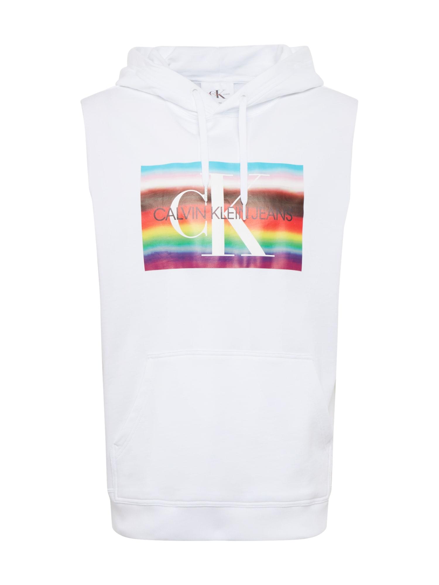 Calvin Klein Jeans Megztinis be užsegimo 'PRIDE BIG FLAG REGULAR SLS HD' mišrios spalvos / balta