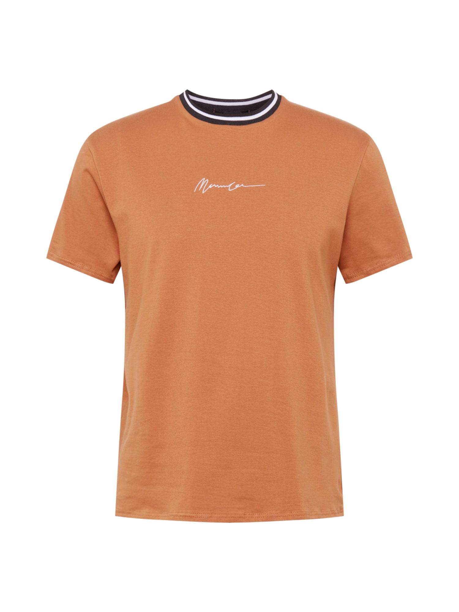 Mennace Marškinėliai gelsvai pilka spalva / balta / juoda