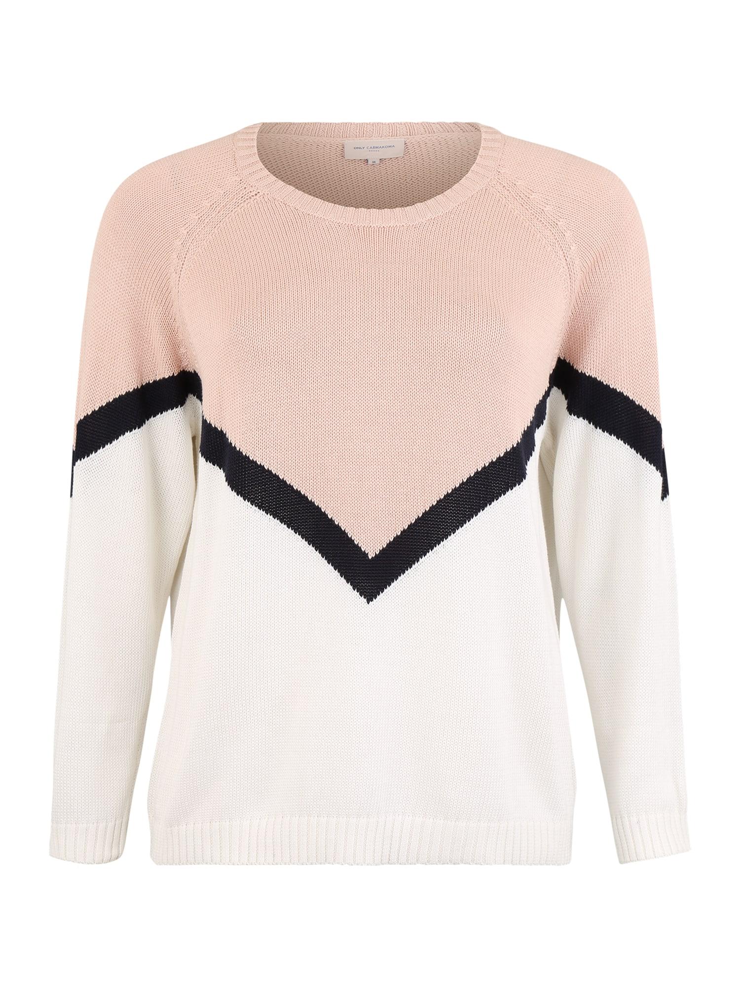 ONLY Carmakoma Megztinis 'CARSARA ' balta / rožinė
