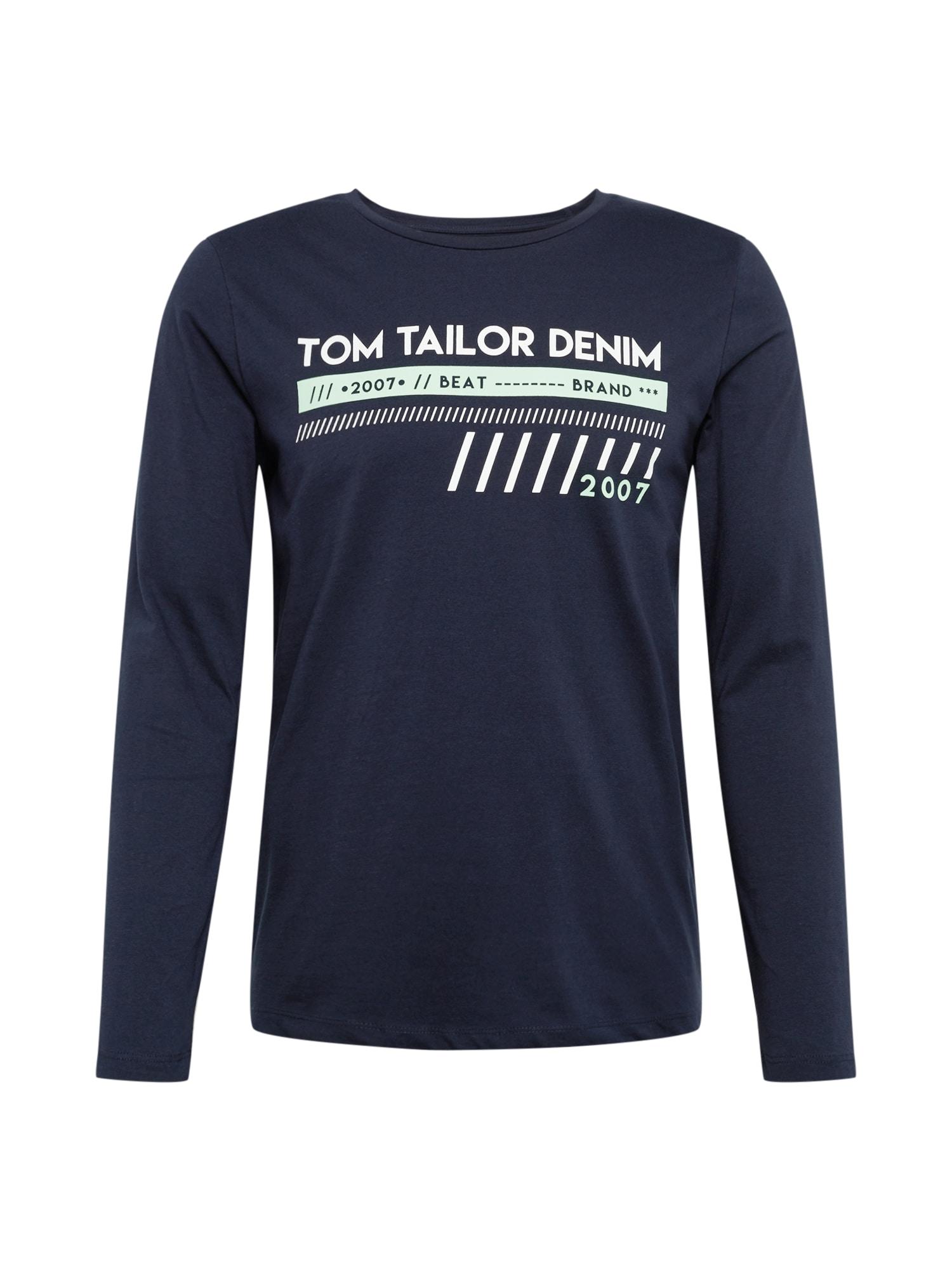 TOM TAILOR DENIM Marškinėliai 'longsleeve T-shirt with print' tamsiai mėlyna