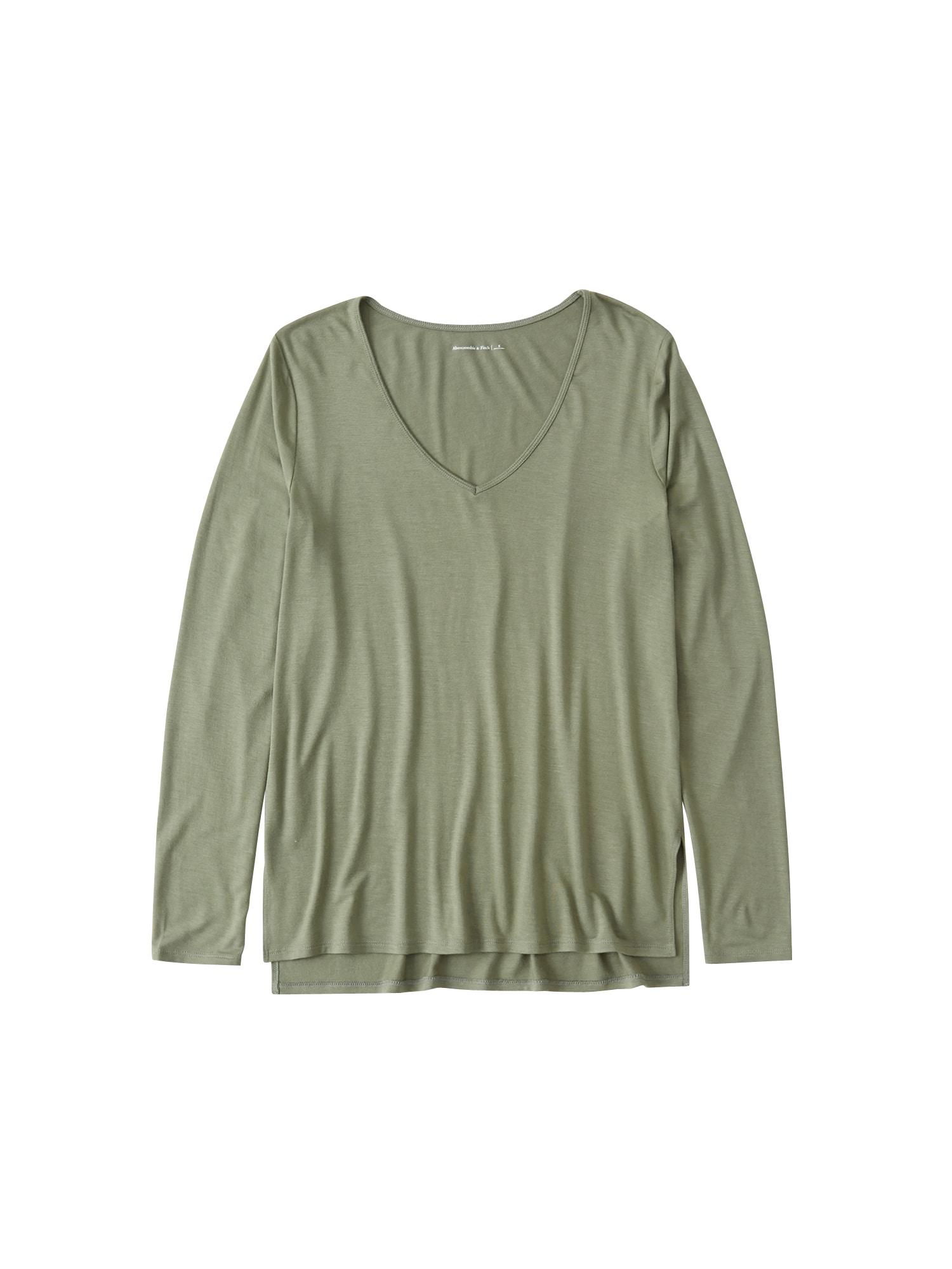 Abercrombie & Fitch Marškinėliai 'XM19-LS SOFT AF TEE 3CC' alyvuogių spalva