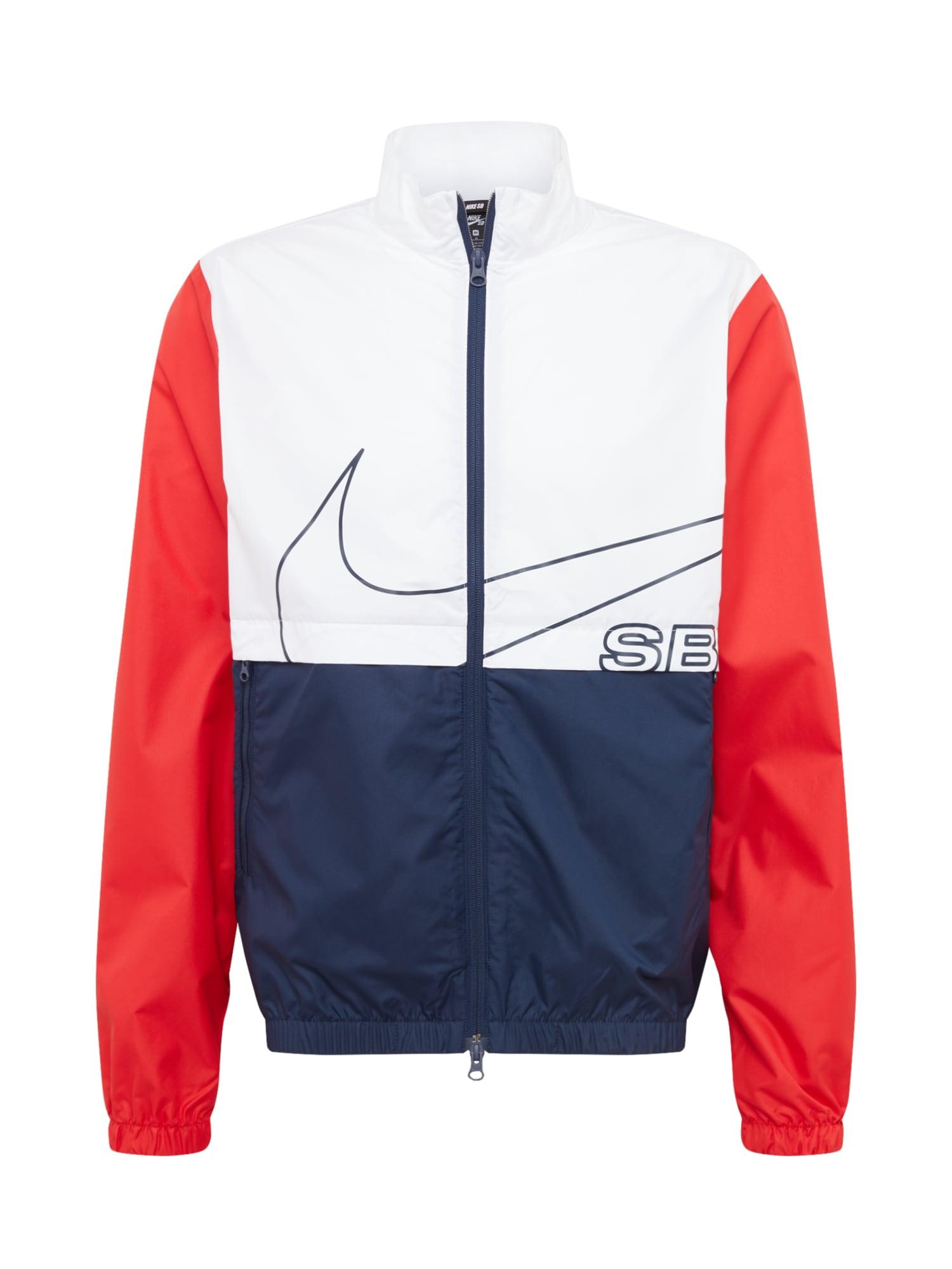 Nike SB Demisezoninė striukė 'Nike SB' tamsiai mėlyna / balta / raudona