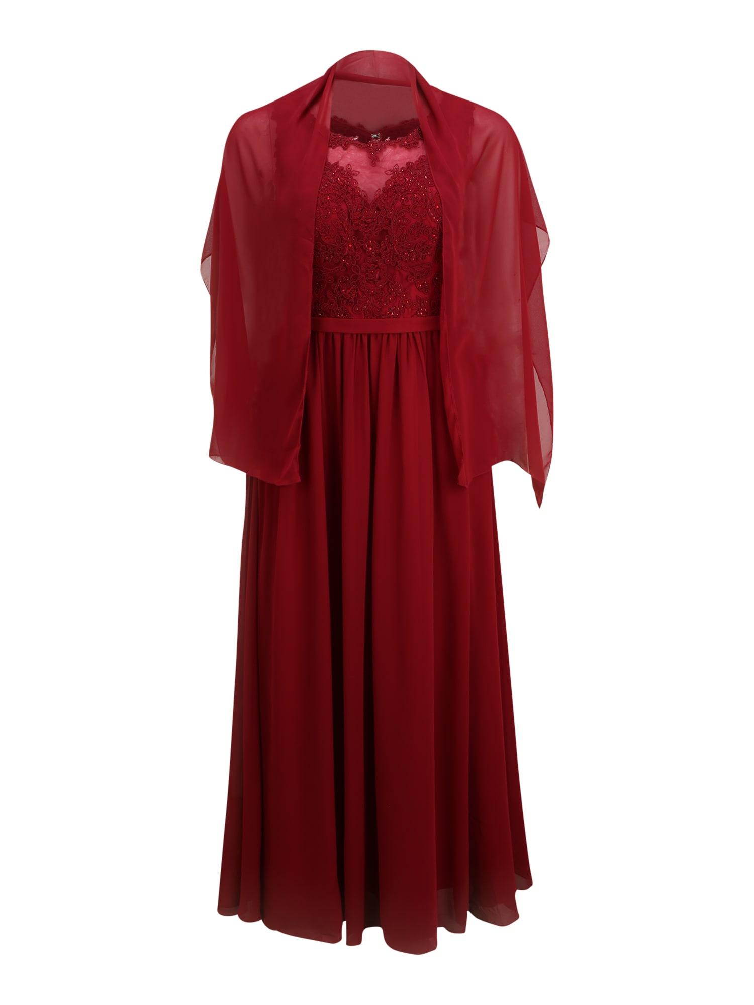 My Mascara Curves Večerné šaty  vínovo červená