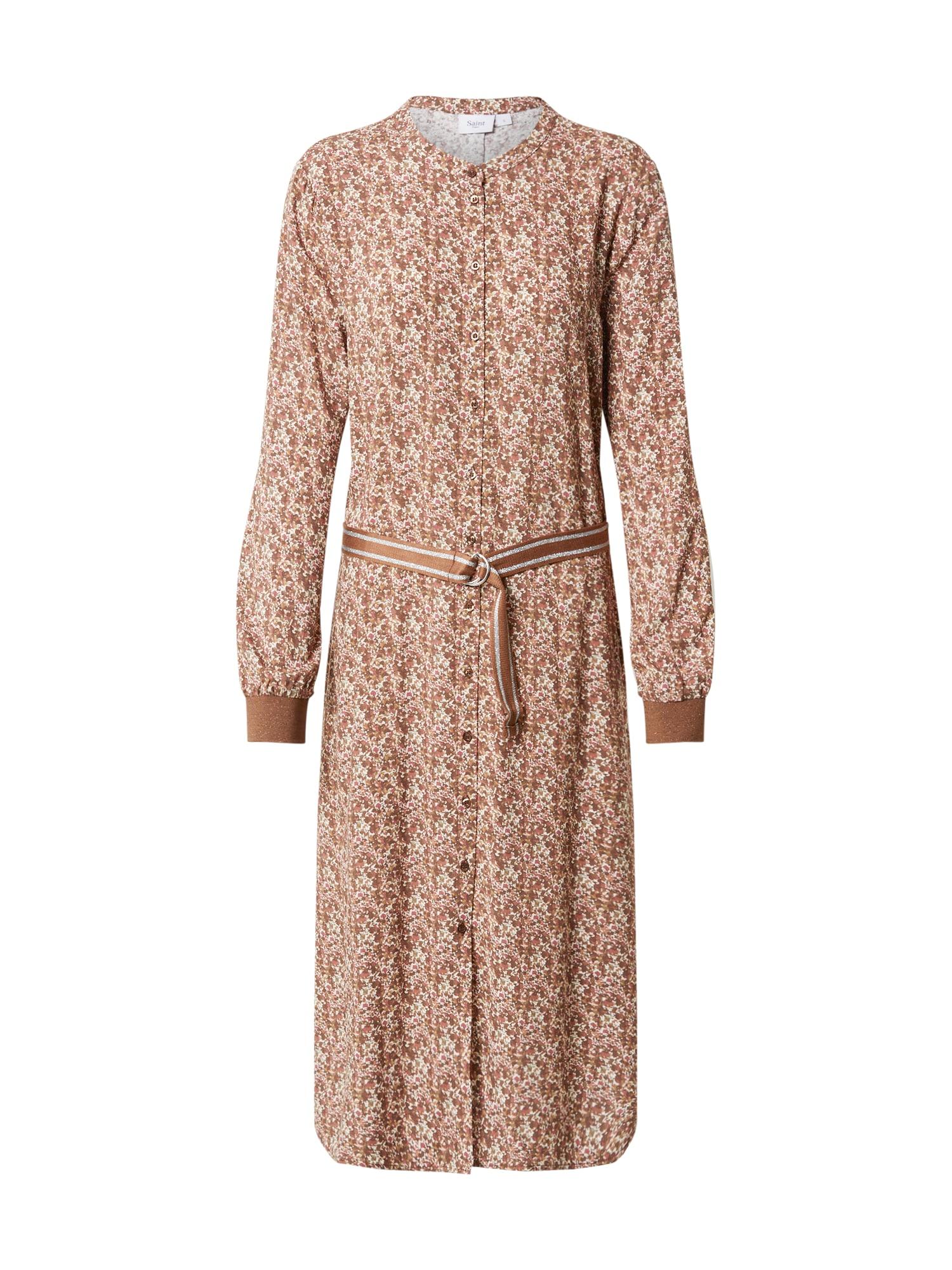 SAINT TROPEZ Palaidinės tipo suknelė balta / ruda