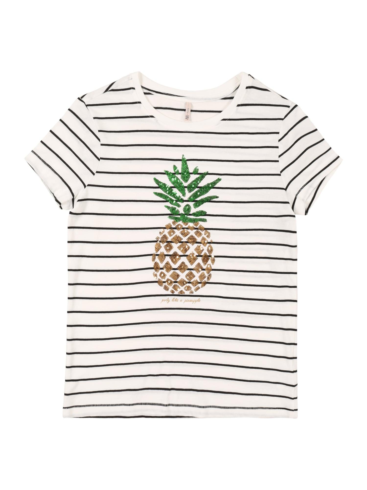 KIDS ONLY Marškinėliai balta / juoda / žalia / auksas