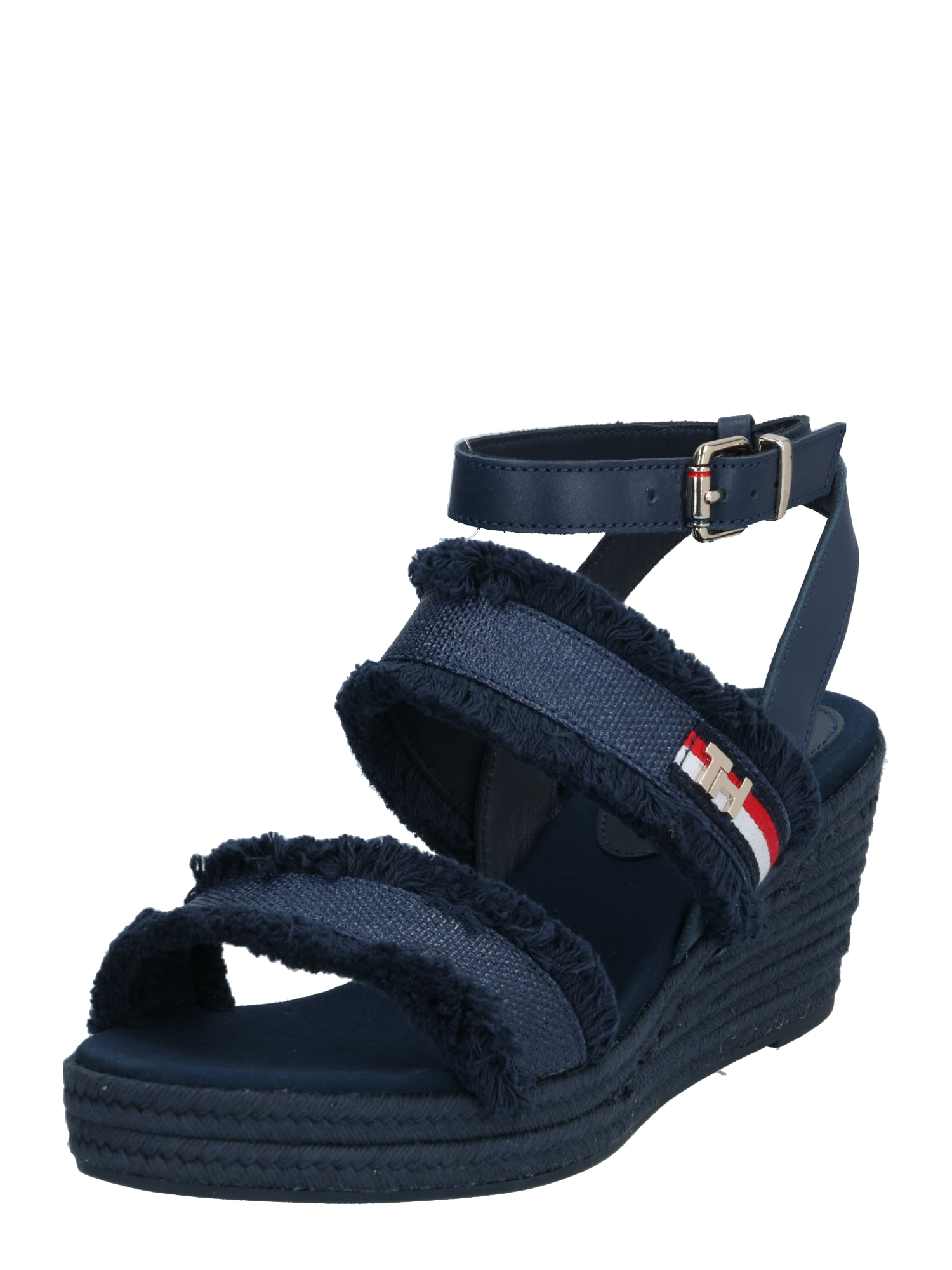 TOMMY HILFIGER Sandalai 'TOMMY FRINGES MID WEDGE SANDAL' tamsiai mėlyna