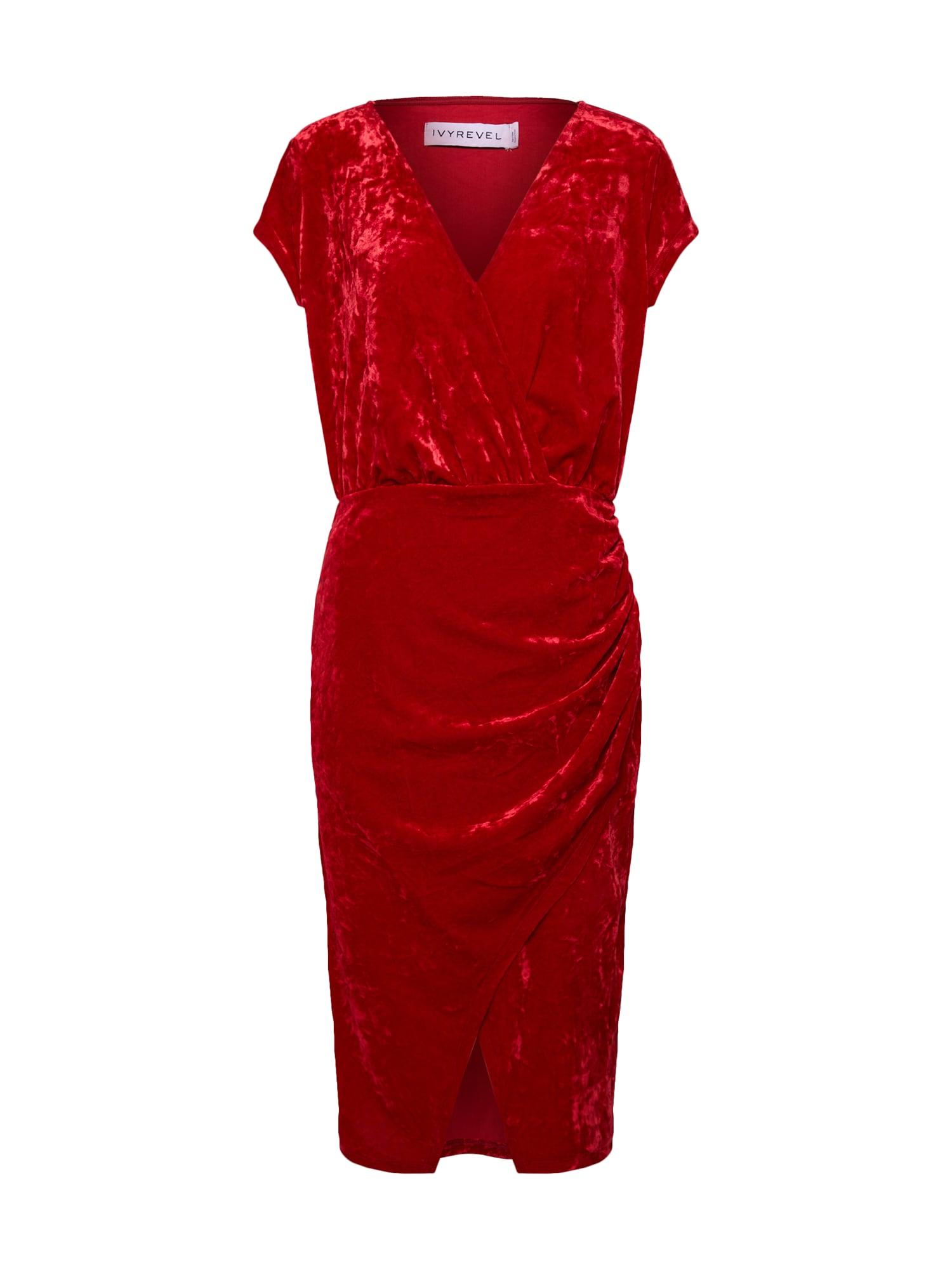 IVYREVEL Trumpa kokteilinė suknelė raudona
