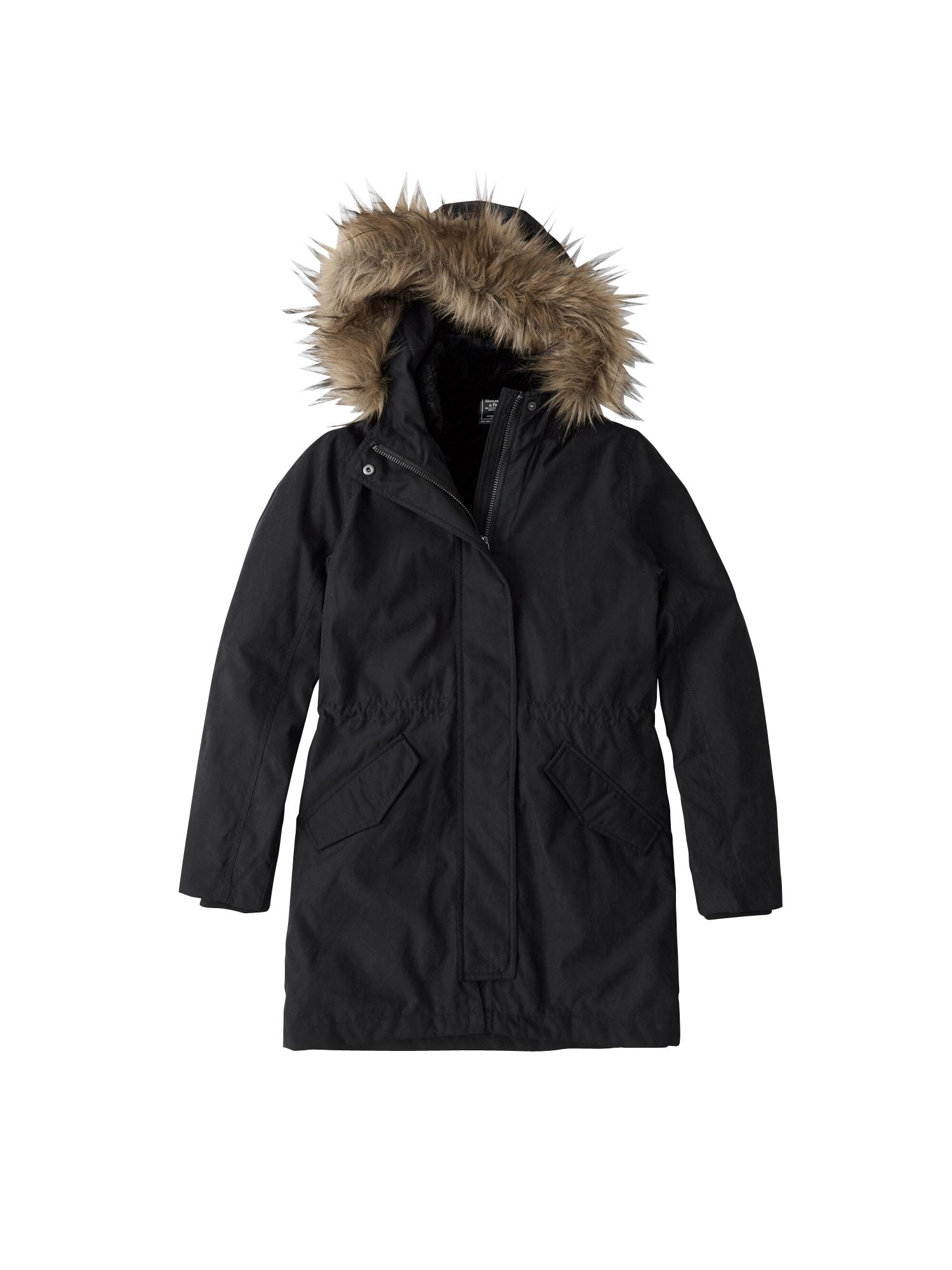 Abercrombie & Fitch Ilga žieminė striukė 'LD19-ULTRA 3N1 PARKA 2CC $240' juoda
