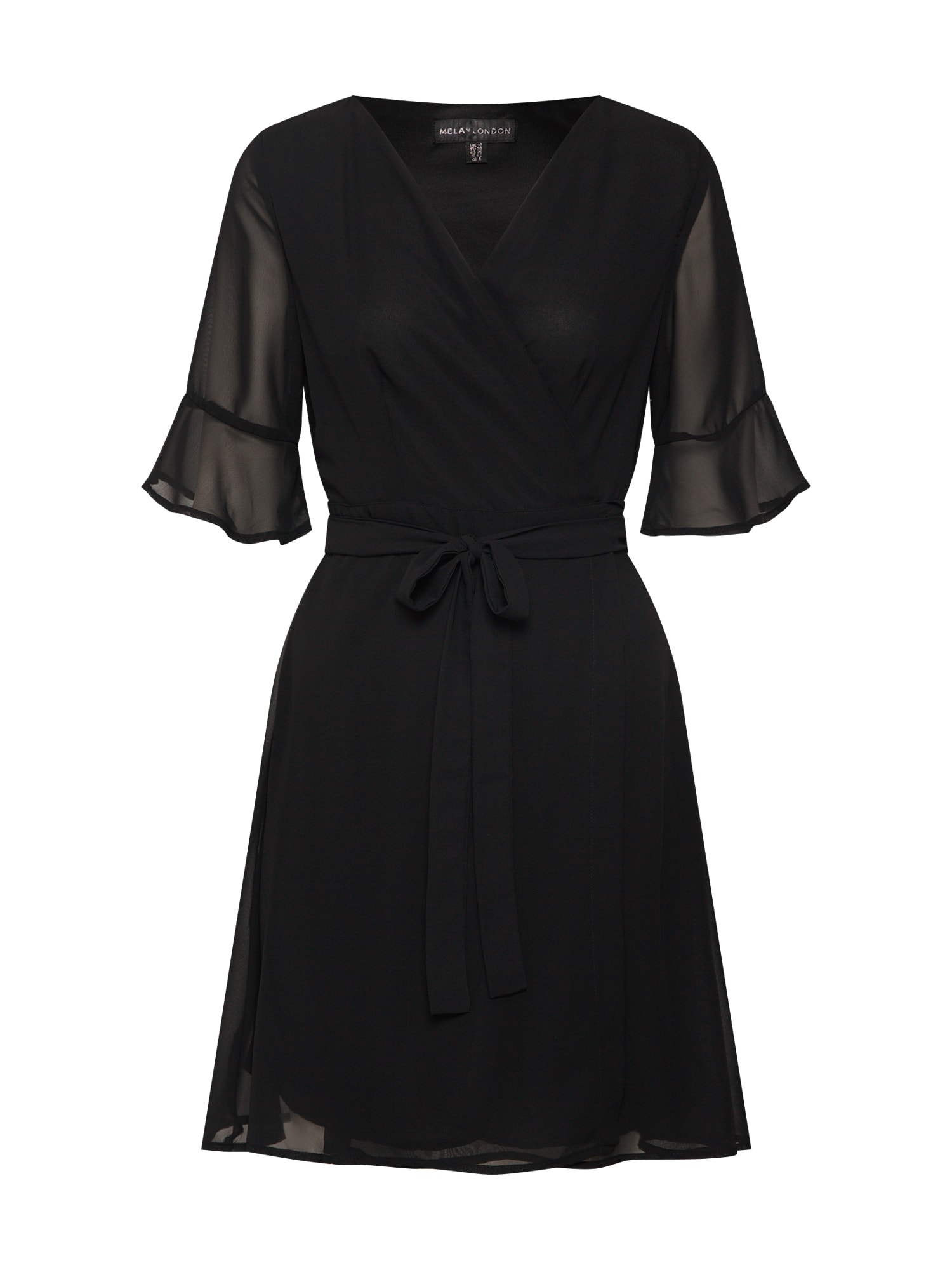 Šaty SHEER SLEEVE WRAP DRESS černá Mela London