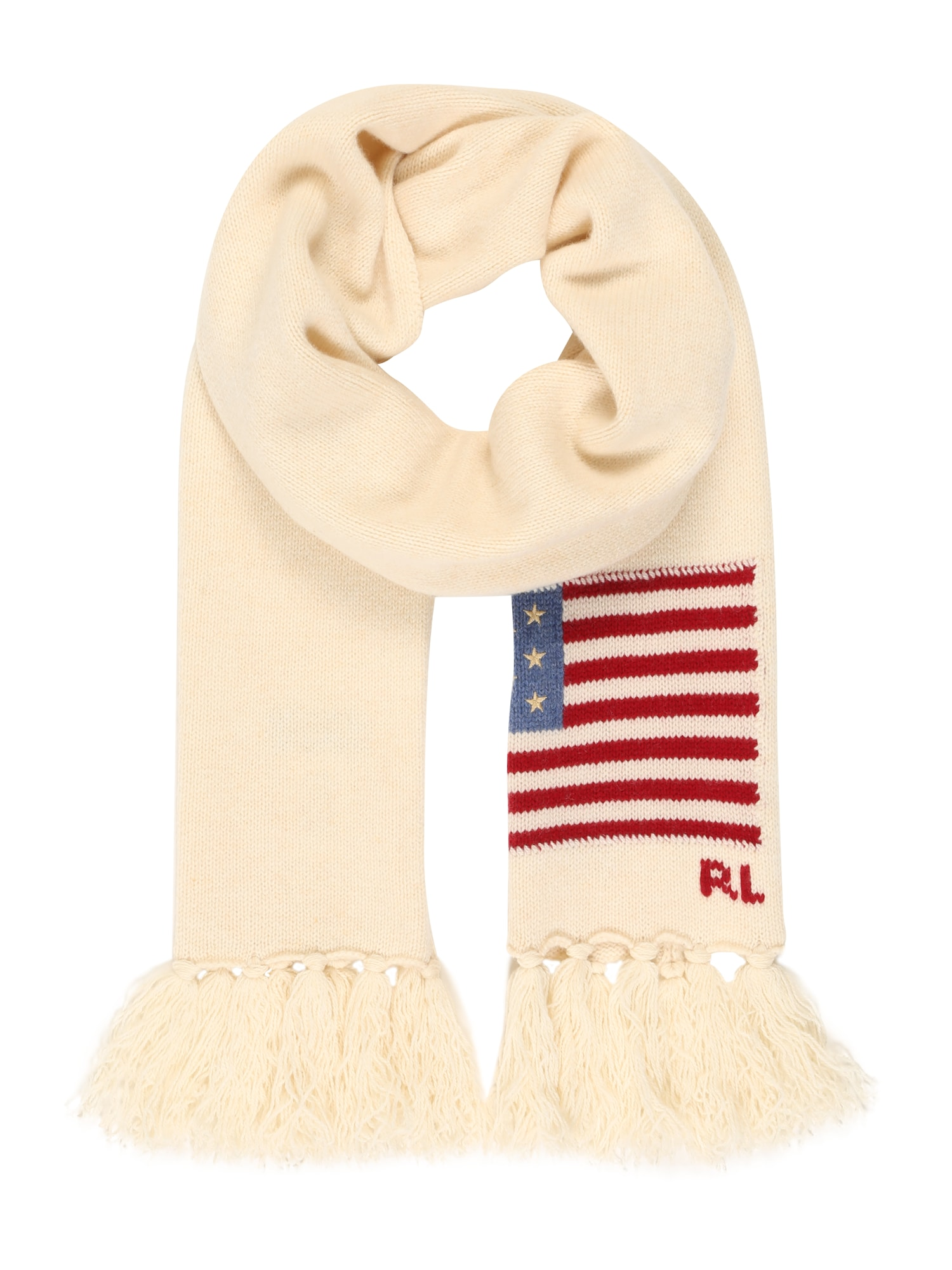 POLO RALPH LAUREN Fular 'FLAG SCARF-OBLONG SCARF-WOOL'  alb lână