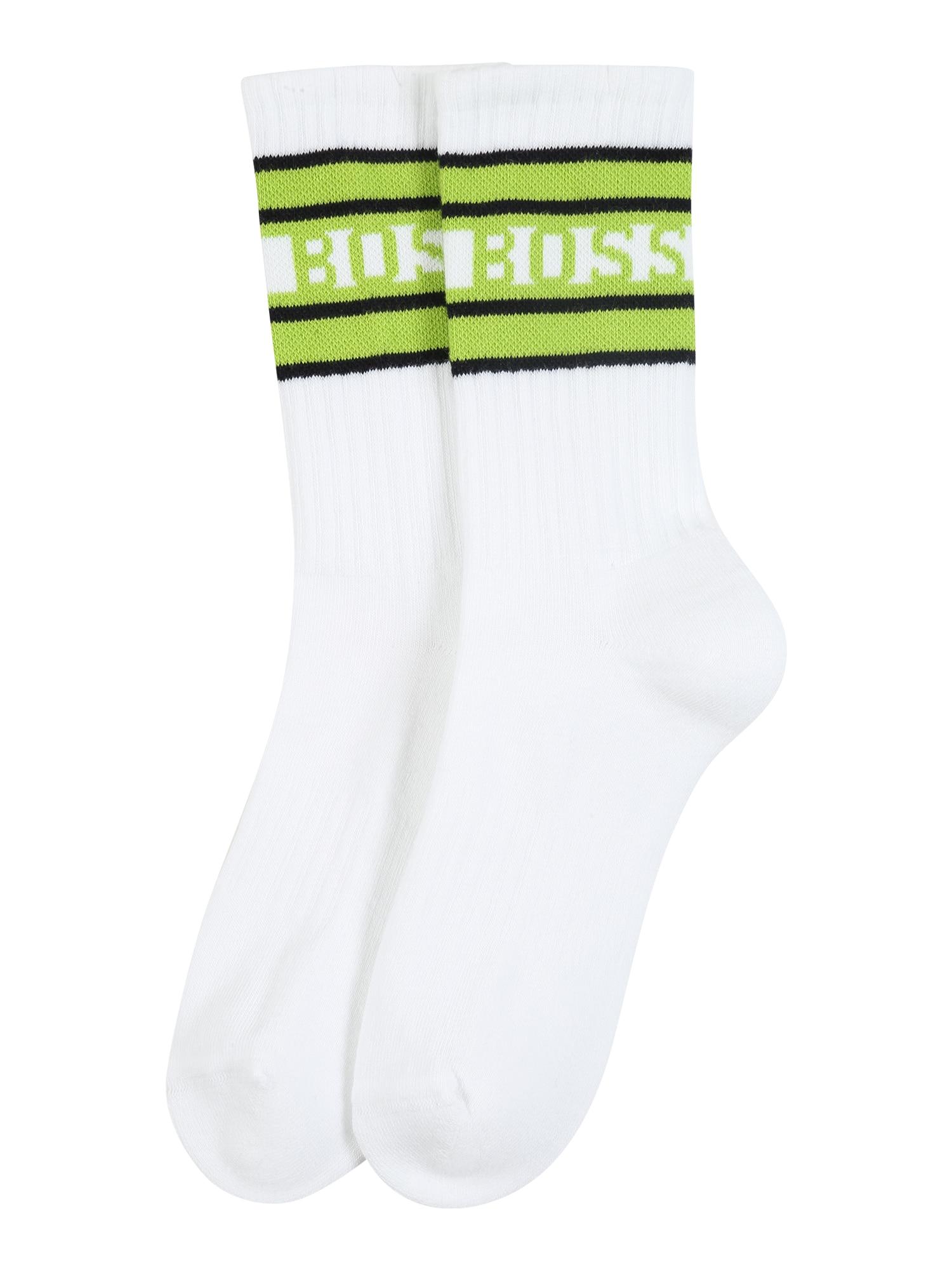BOSS Kojinės balta / neoninė žalia