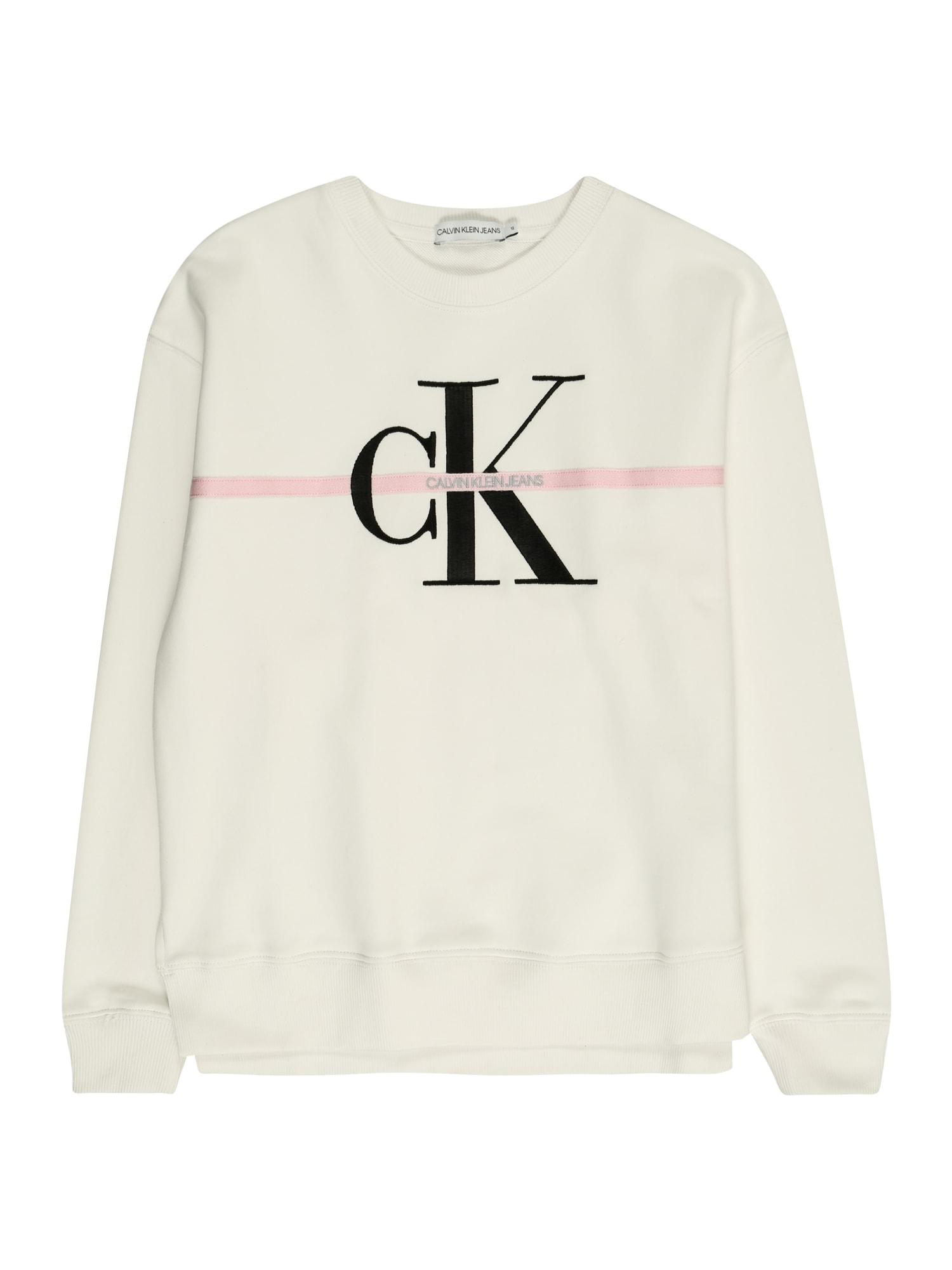 Calvin Klein Jeans Megztinis be užsegimo 'MONOGRAM' vilnos balta / rožių spalva / juoda