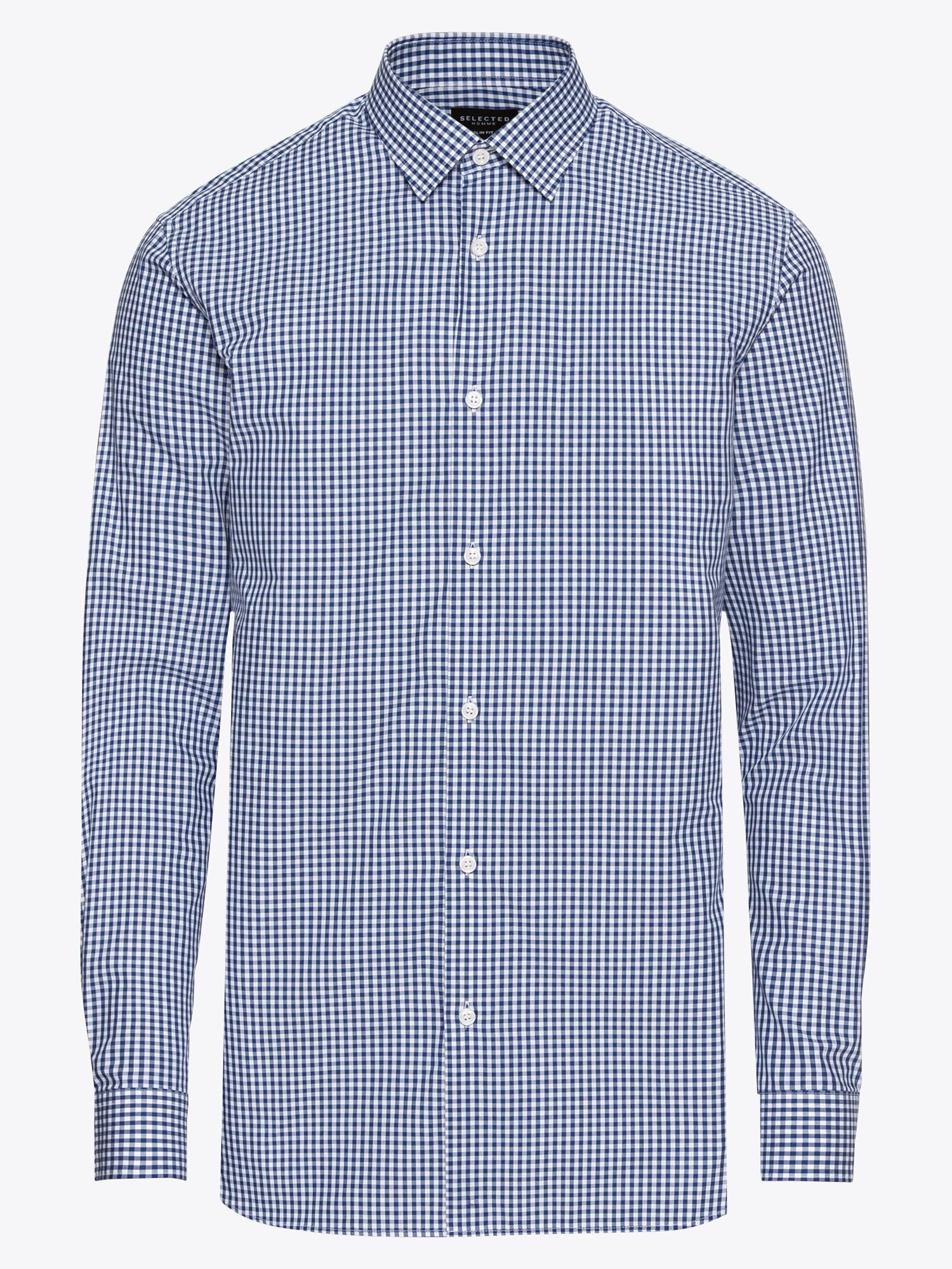 Donkerblauw Heren Overhemd.Selected Homme Heren Overhemd Donkerblauw Wit Shop Via Mode