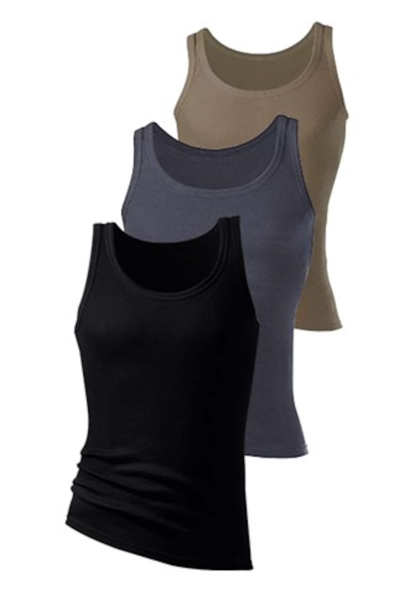H.I.S Apatiniai marškinėliai tamsi smėlio / tamsiai pilka / juoda