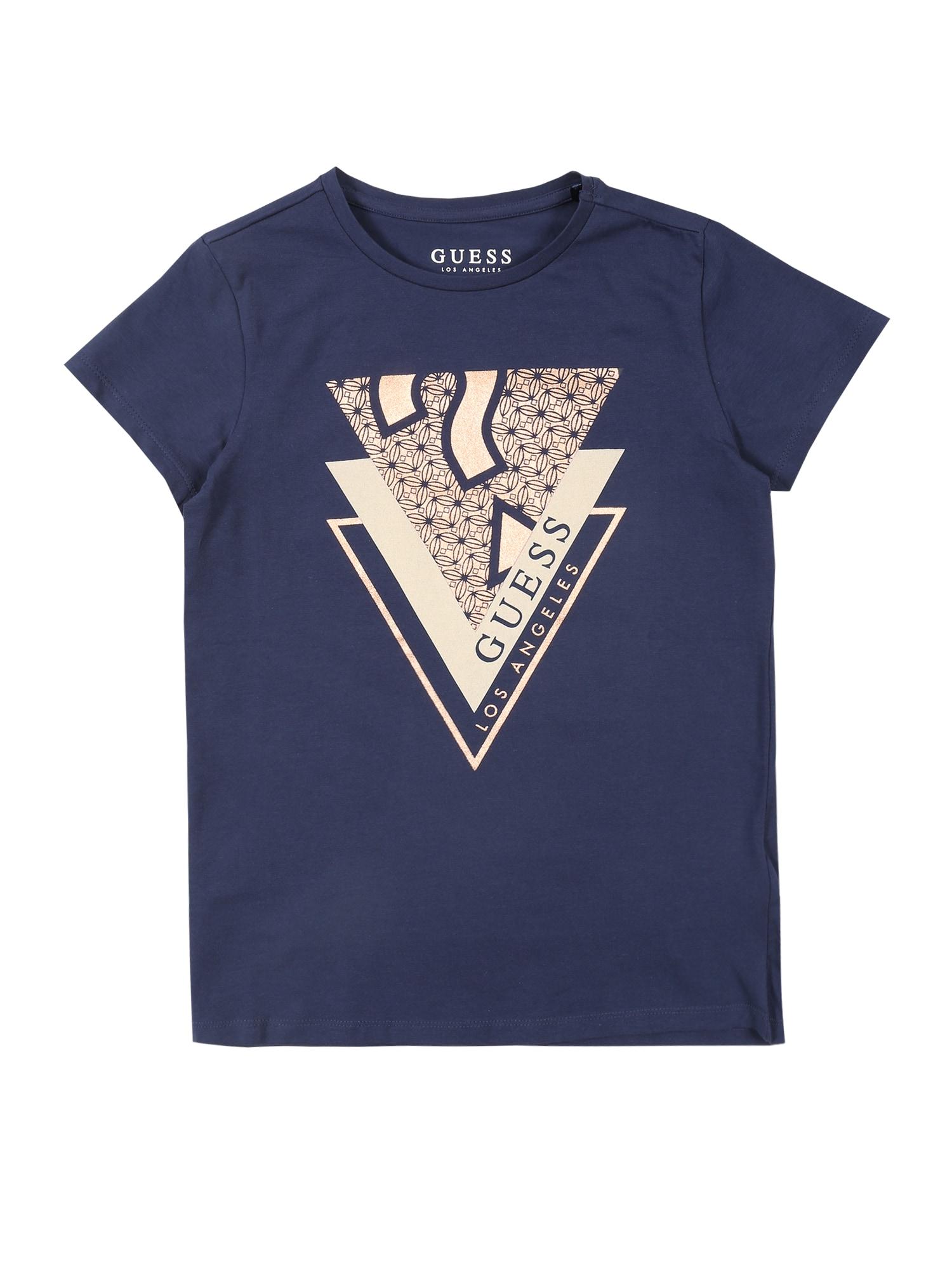 GUESS Tričko  modré / ružová