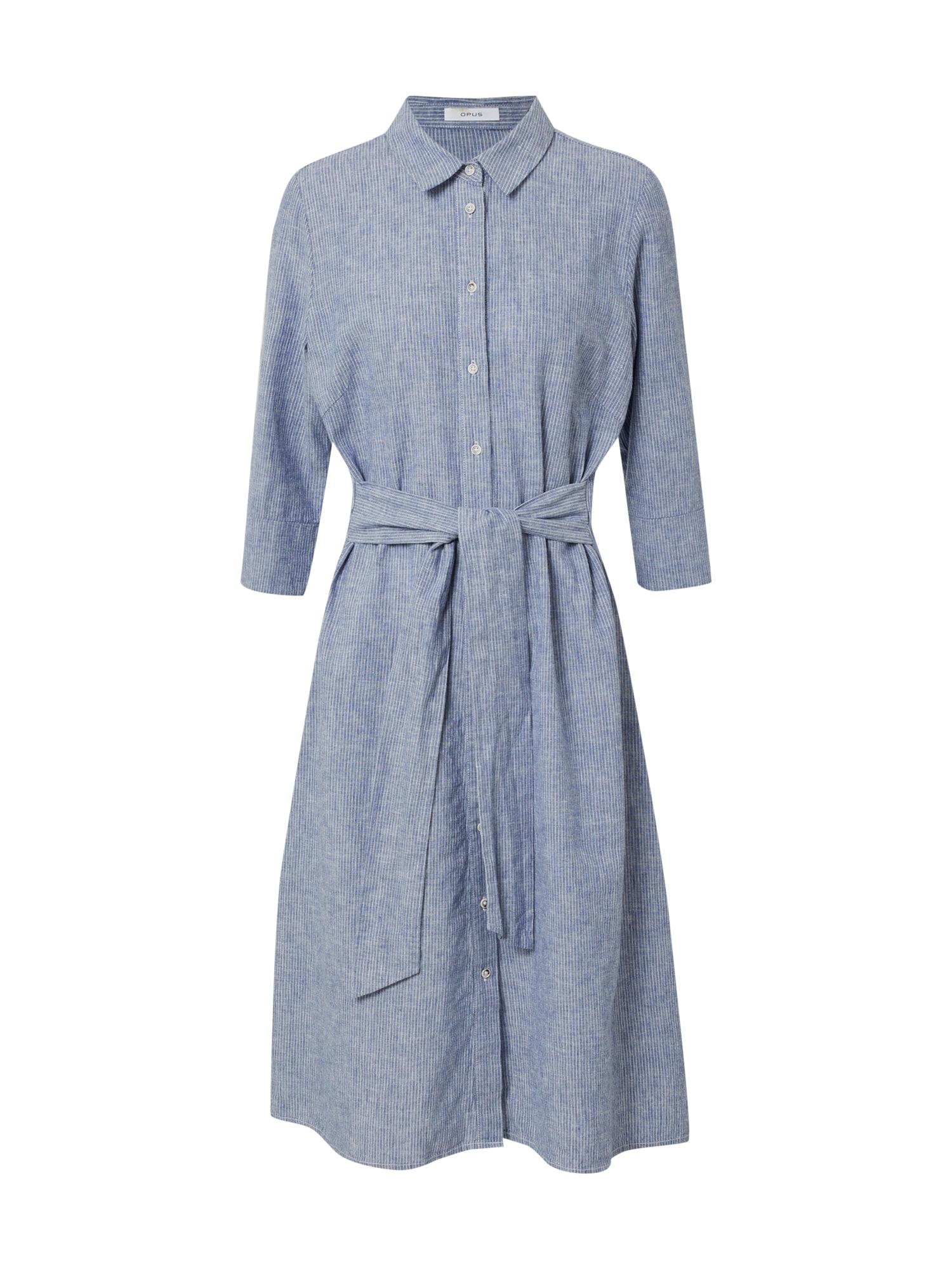 OPUS Košeľové šaty 'Wuta'  modré / biela