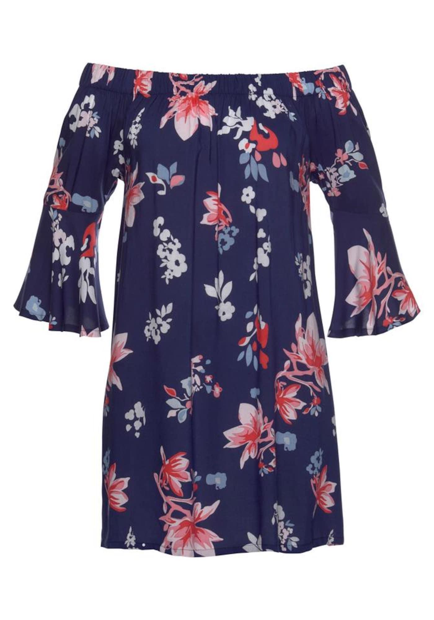 BEACH TIME Paplūdimio suknelė šviesiai mėlyna / tamsiai violetinė / lašišų spalva / balta