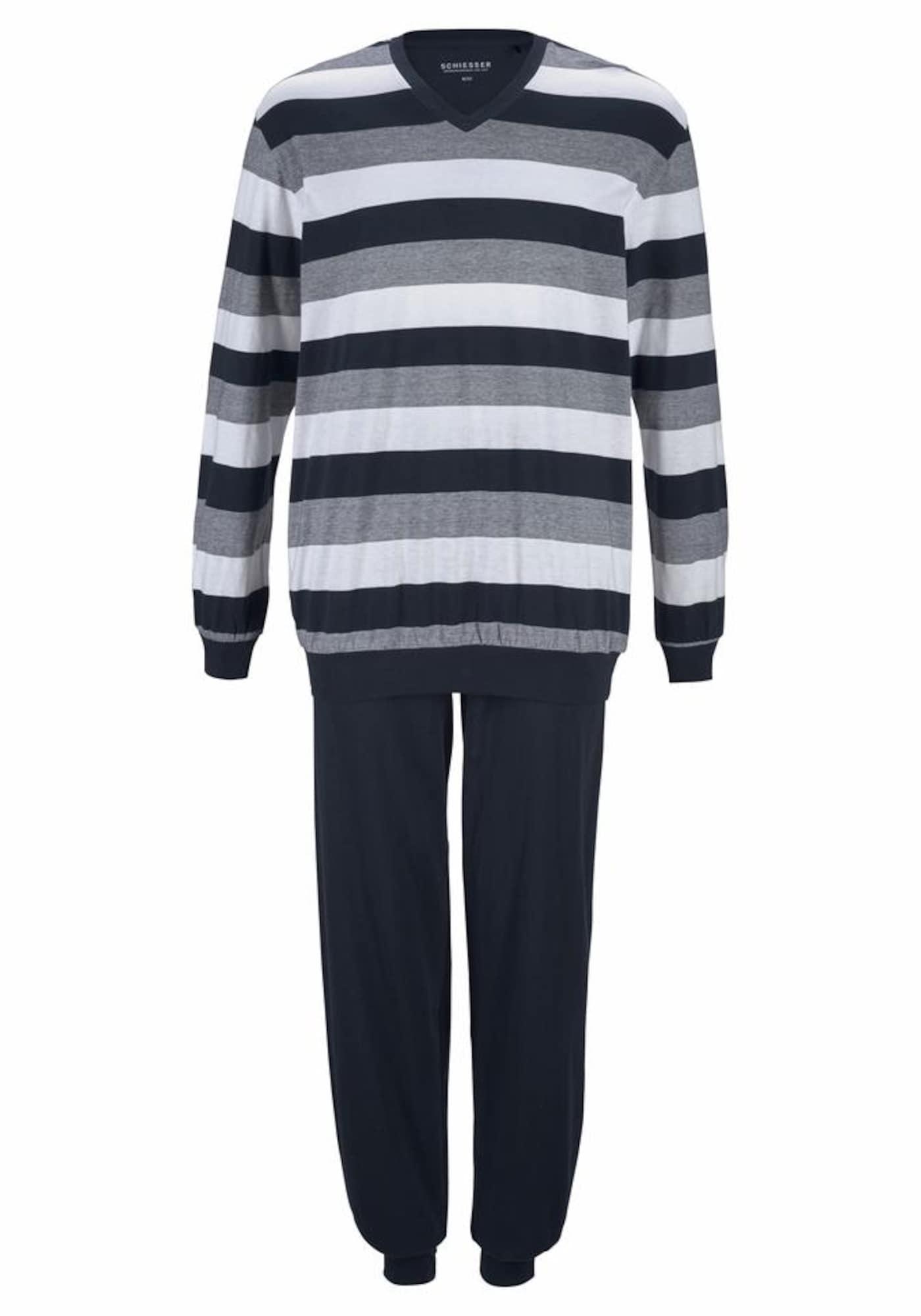 SCHIESSER Ilga pižama tamsiai mėlyna / pilka / balta