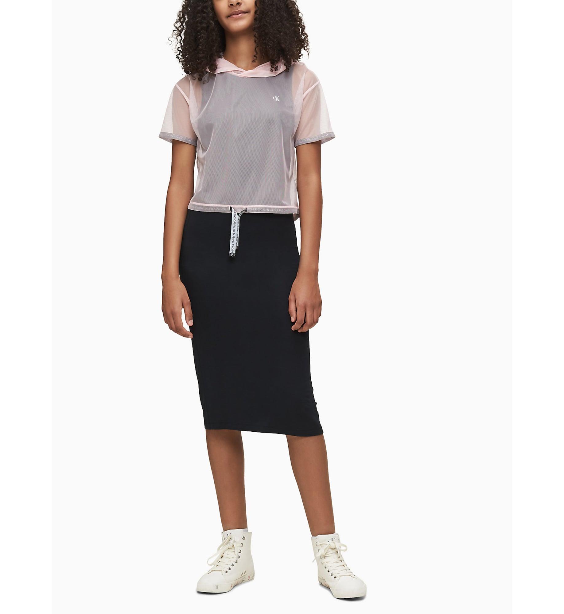 Calvin Klein Jeans Klänning '2 IN 1 MESH LAYER DRESS'  svart / gammalrosa