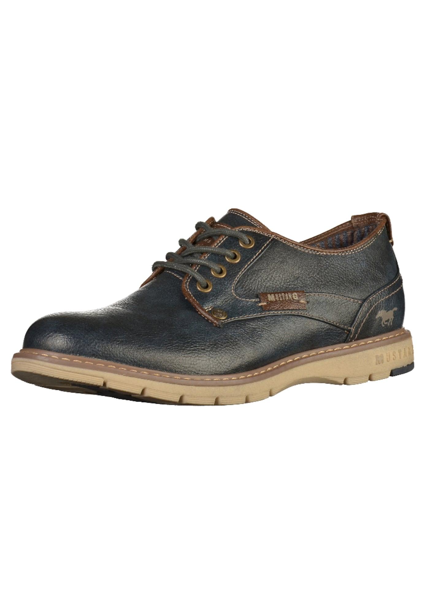 MUSTANG Sportinio stiliaus batai su raišteliais nakties mėlyna / ruda