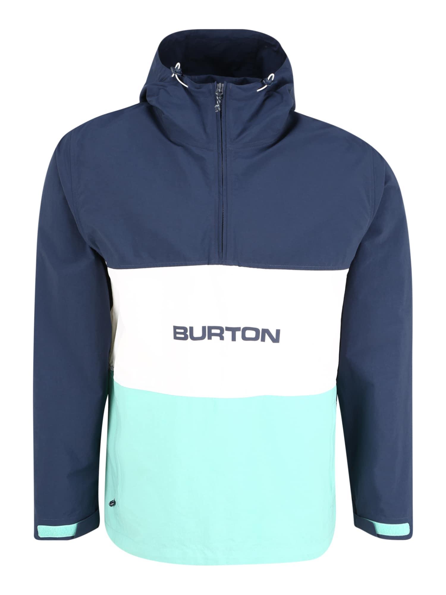 BURTON Sportinė striukė tamsiai mėlyna / balta / turkio spalva