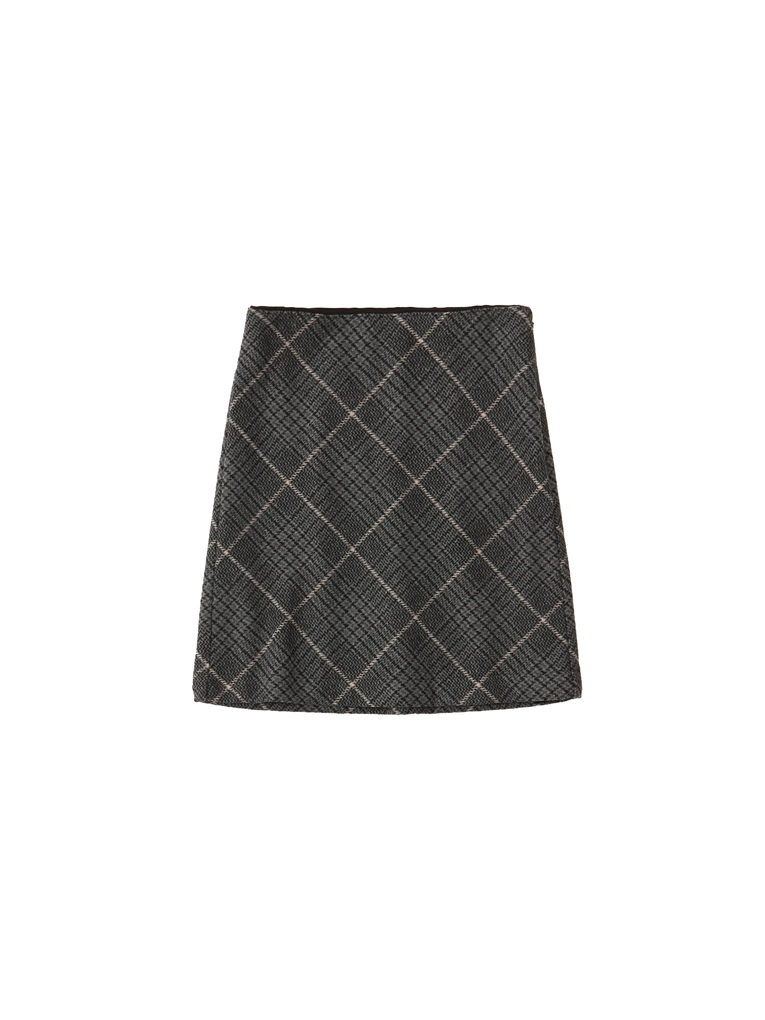 Abercrombie & Fitch Sijonas 'XM19-PLAID STRUCTURED MINI 1CC' juoda / smėlio