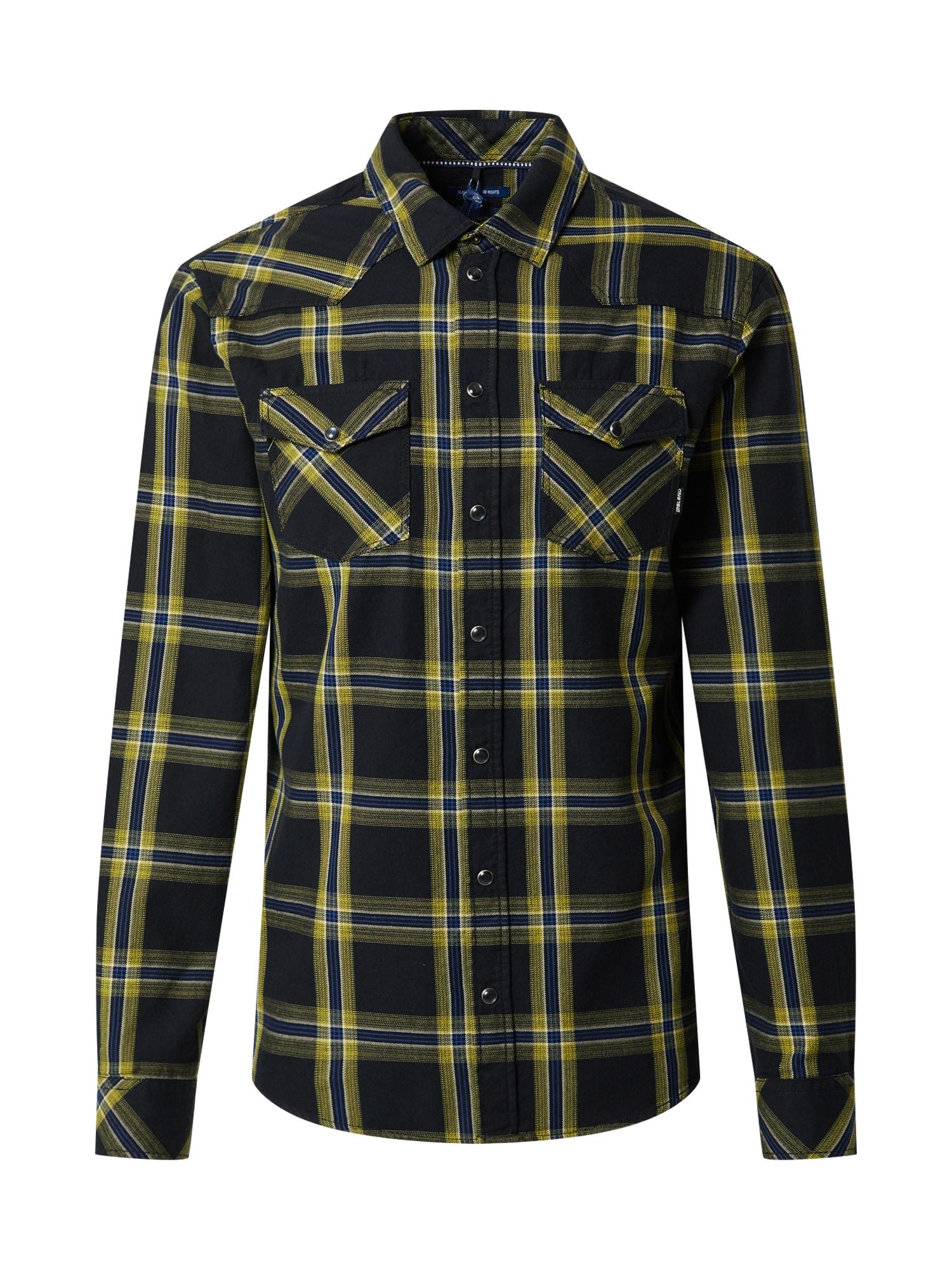 BLEND Marškiniai tamsiai mėlyna / geltona