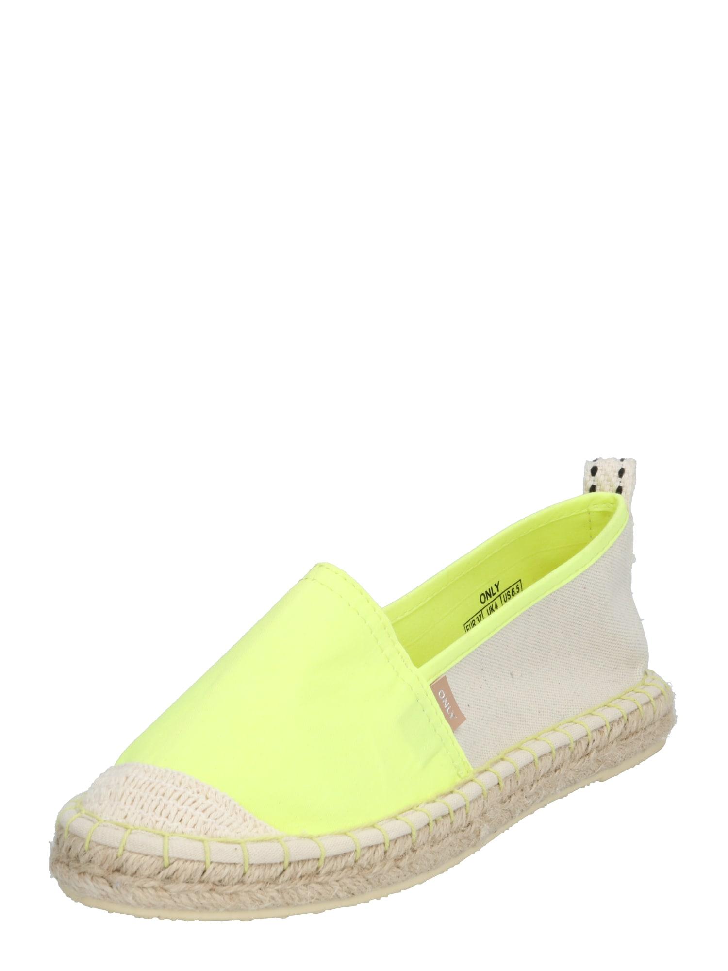 ONLY Espadrilės 'EVA' neoninė geltona