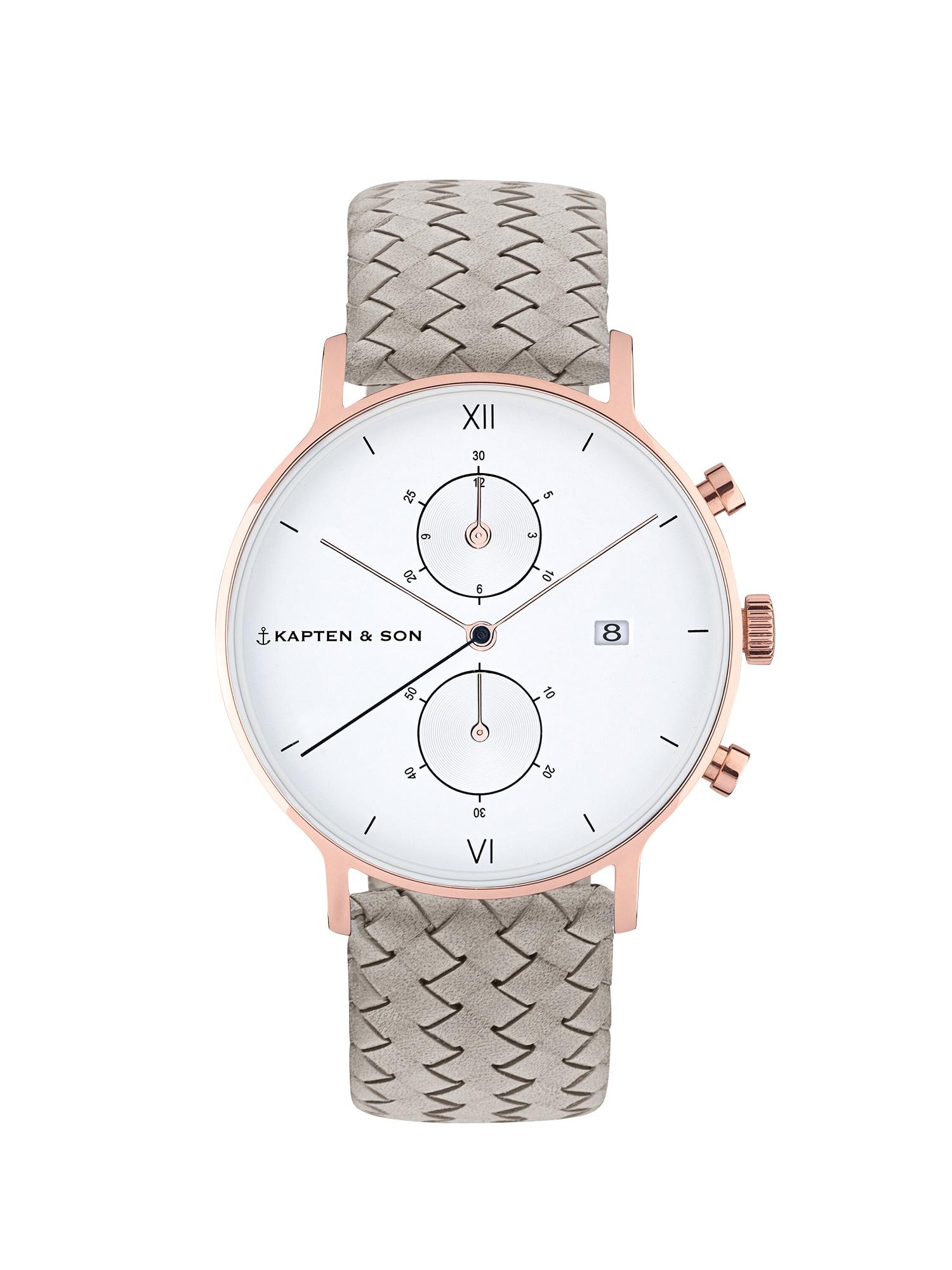 Kapten & Son Analoginis (įprastinio dizaino) laikrodis 'Small Chrono Woven' pilka