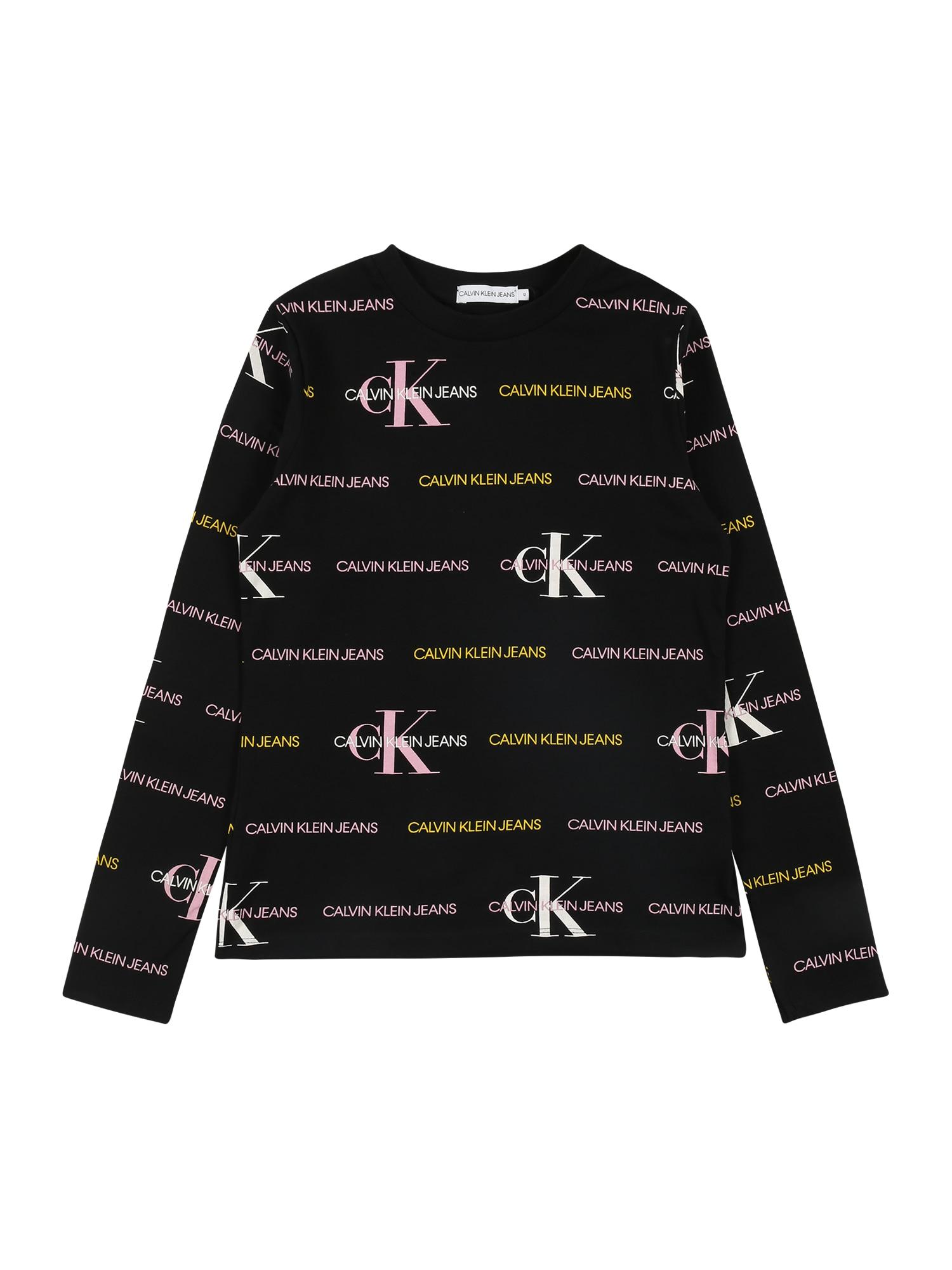 Calvin Klein Jeans Marškinėliai juoda / geltona / šviesiai rožinė