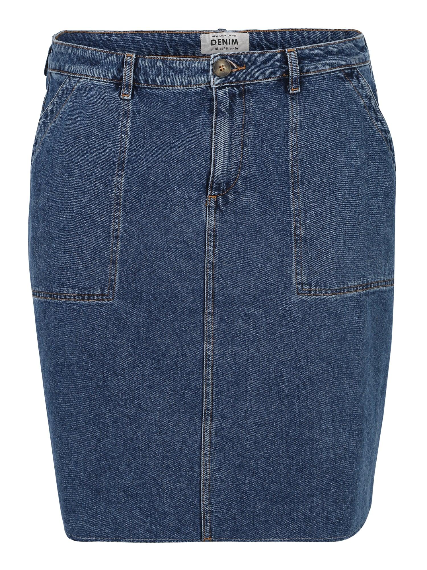 Sukně X Utility modrá džínovina New Look Curves