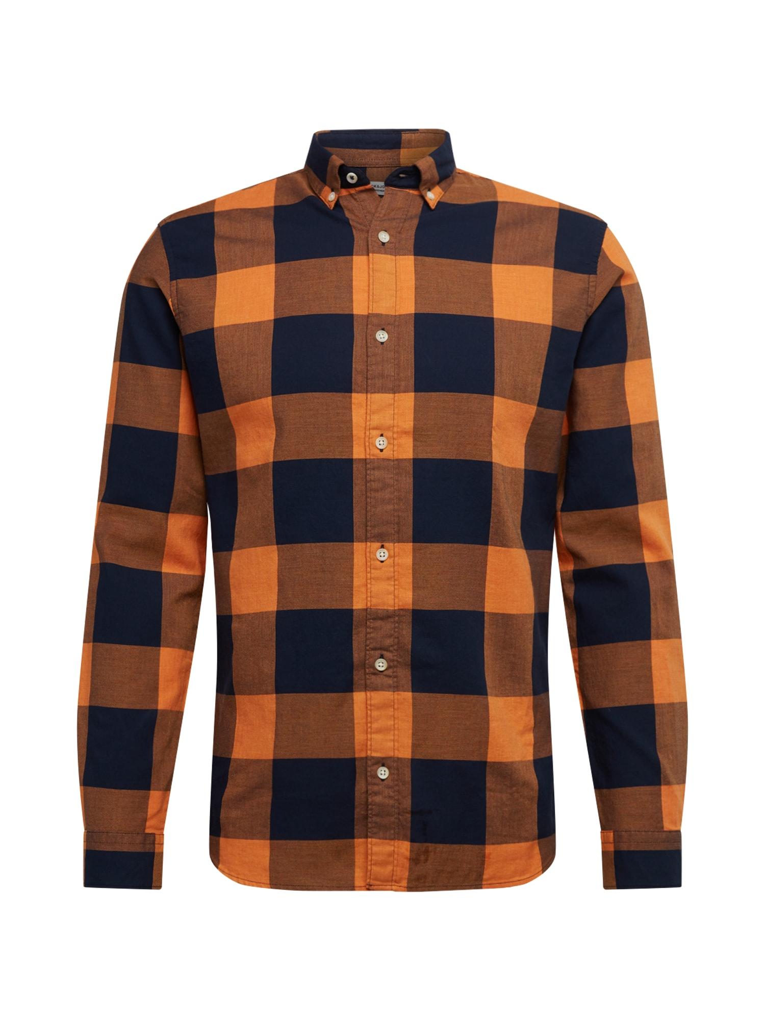 JACK & JONES Dalykiniai marškiniai 'JPRBLAMELANGE' juoda / oranžinė-raudona