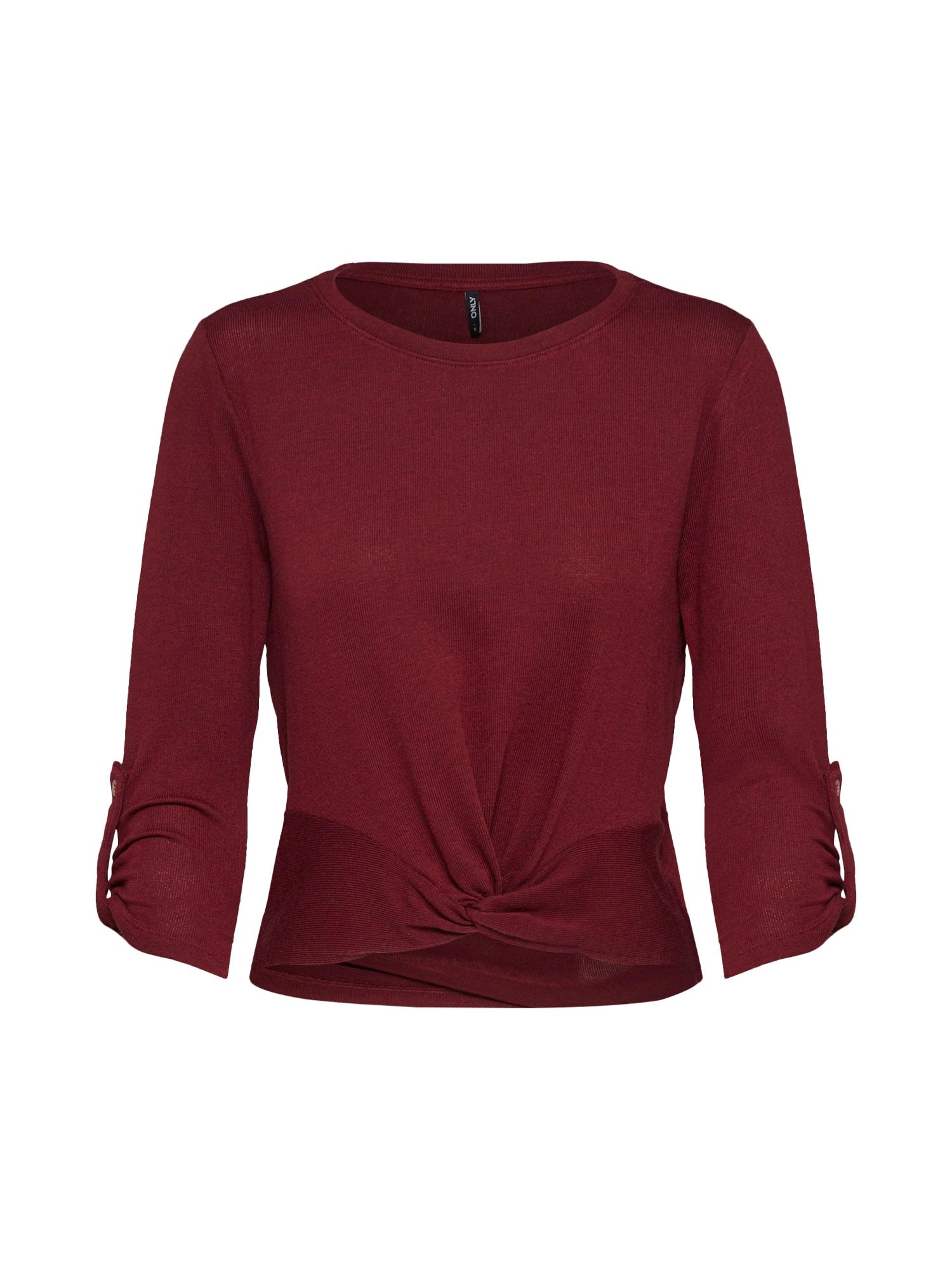 ONLY Marškinėliai 'TINNA' vyno raudona spalva
