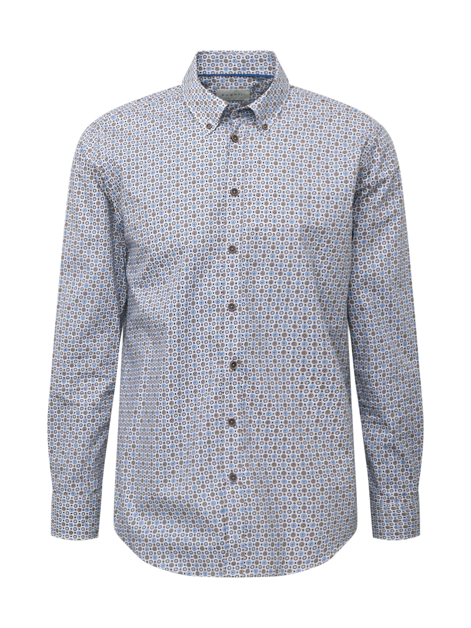 bugatti Marškiniai šviesiai mėlyna / ruda / smėlio