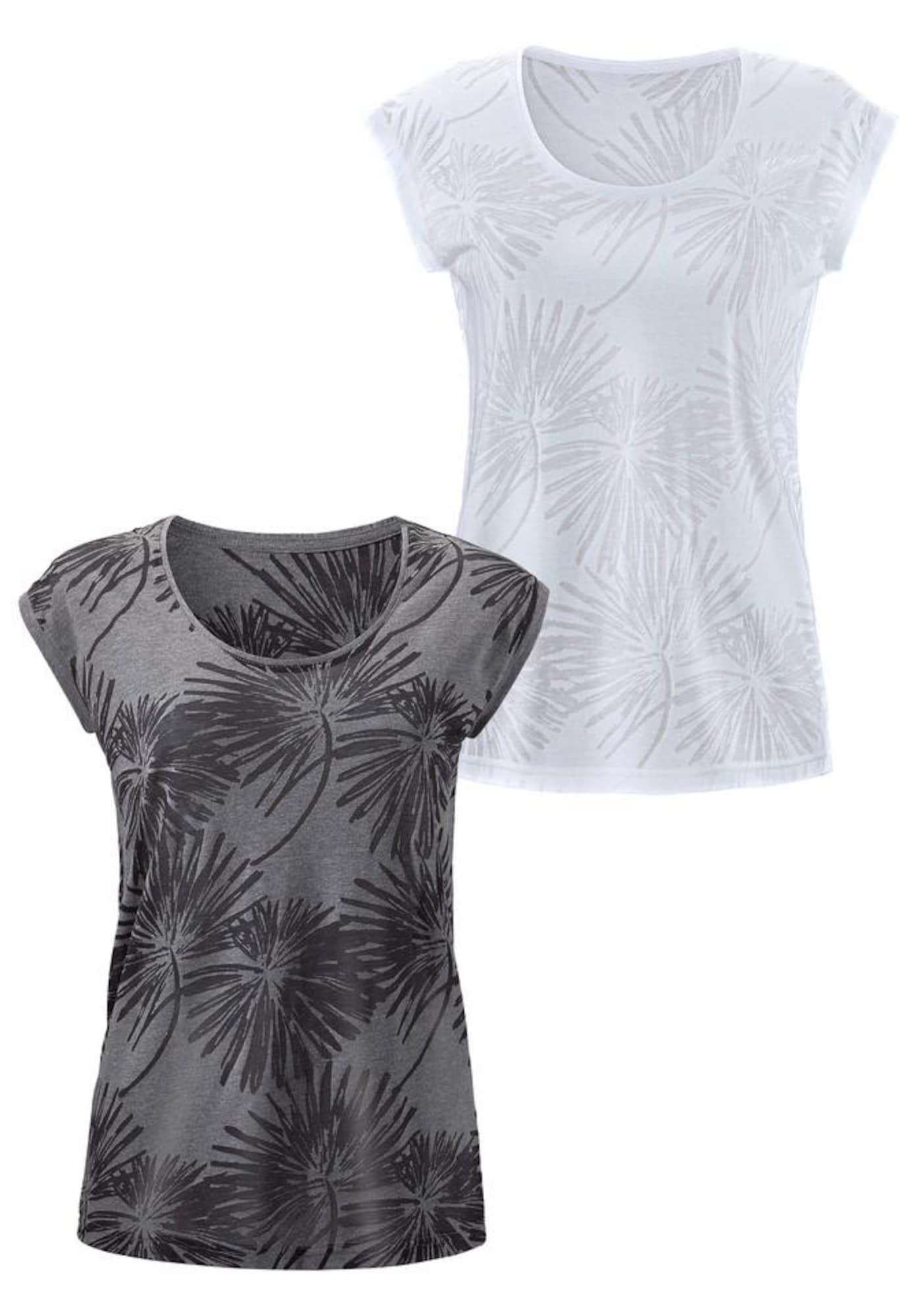 BEACH TIME Marškinėliai bazalto pilka / balta