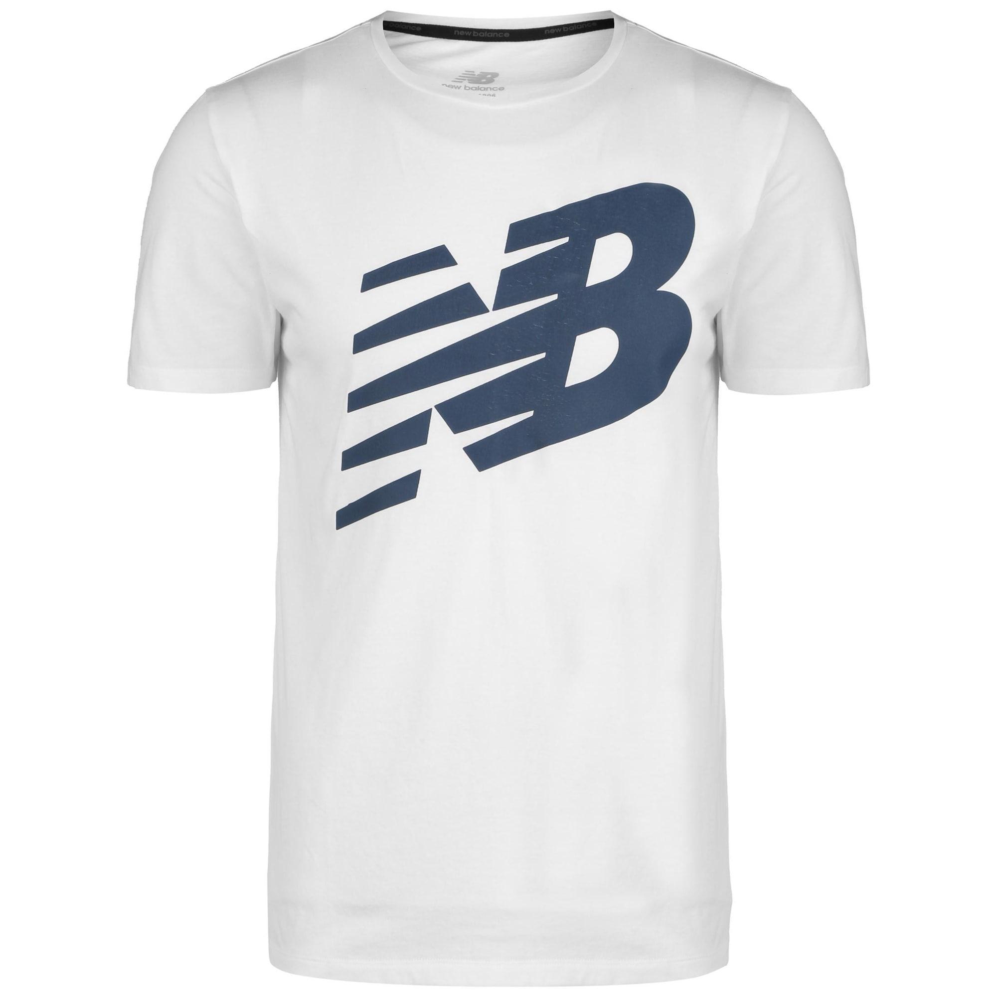 new balance Sportiniai marškinėliai balta / mėlyna