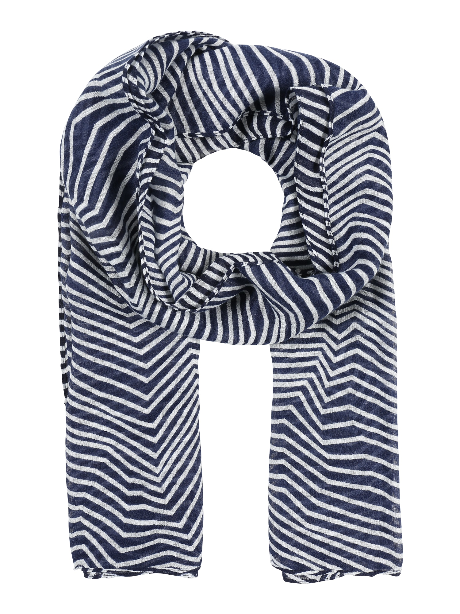 Schals für Frauen - PIECES Tuch mit Zick Zack Muster 'PCGUINEVERE' marine weiß  - Onlineshop ABOUT YOU