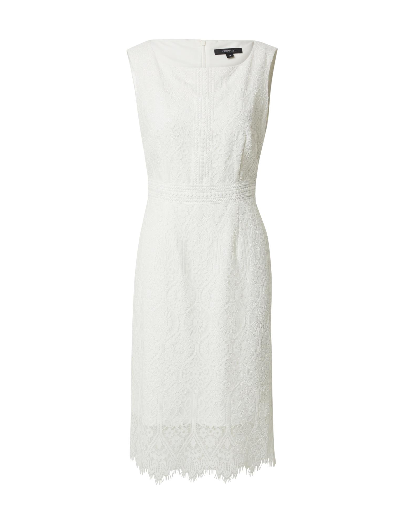 COMMA Trumpa kokteilinė suknelė balta