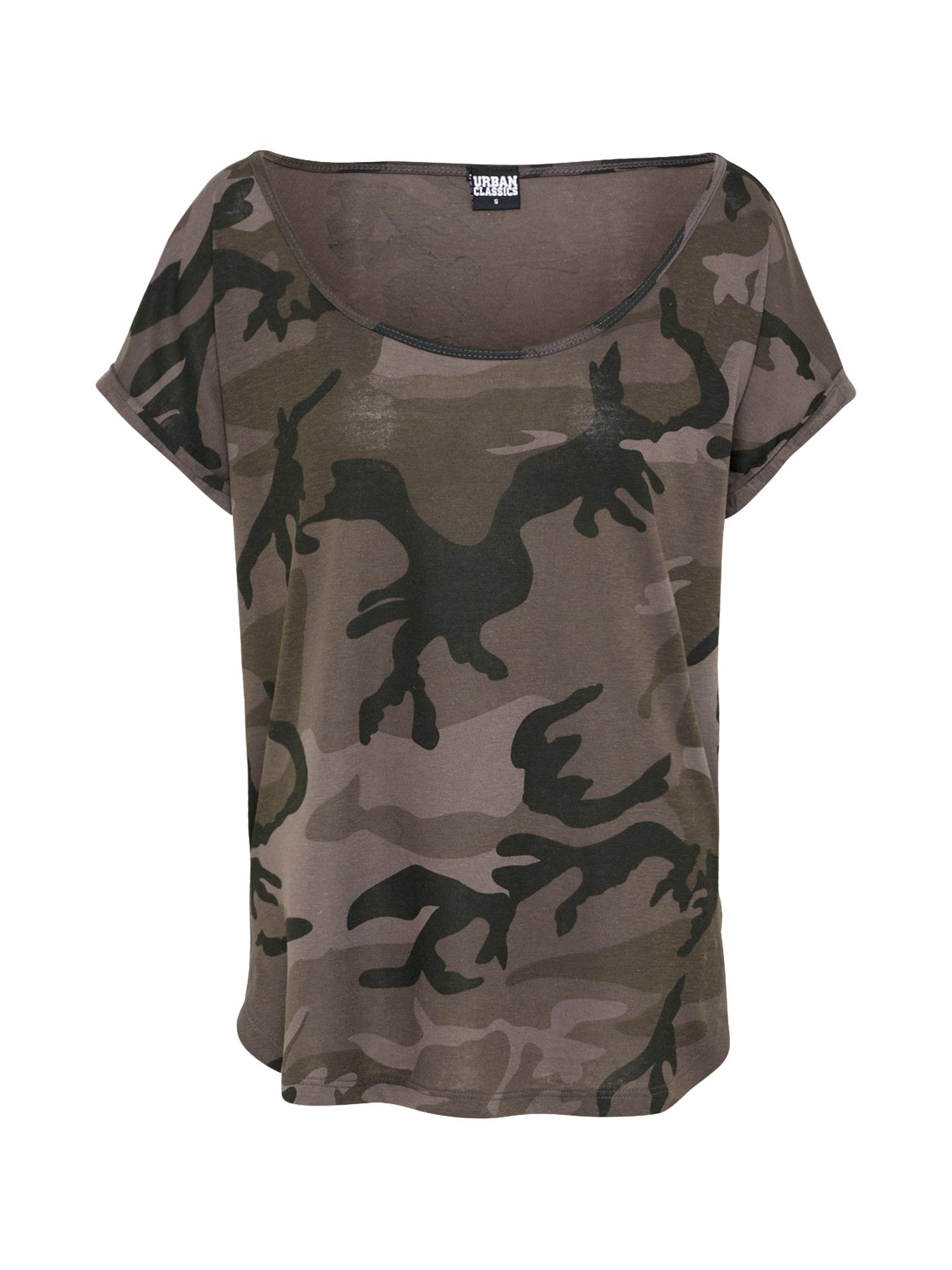 Urban Classics Curvy Marškinėliai pilka / tamsiai pilka / juoda