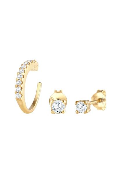 Ohrringe für Frauen - Ohrringe Single Earcuff, Kristall Ohrstecker, Set › ELLI › gold  - Onlineshop ABOUT YOU