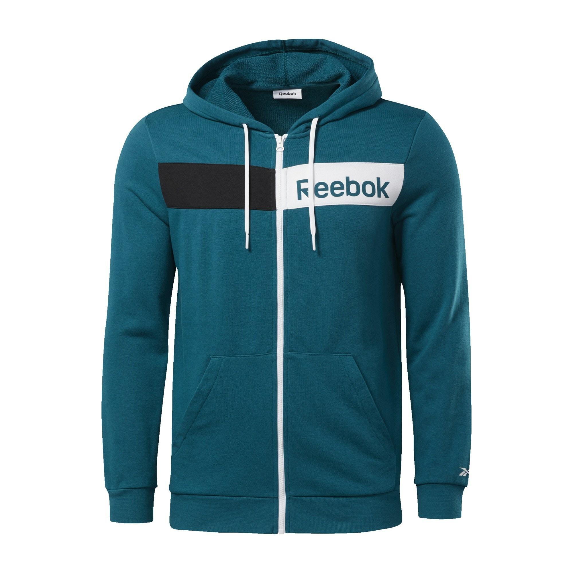 REEBOK Sportinis džemperis turkio spalva / balta / juoda